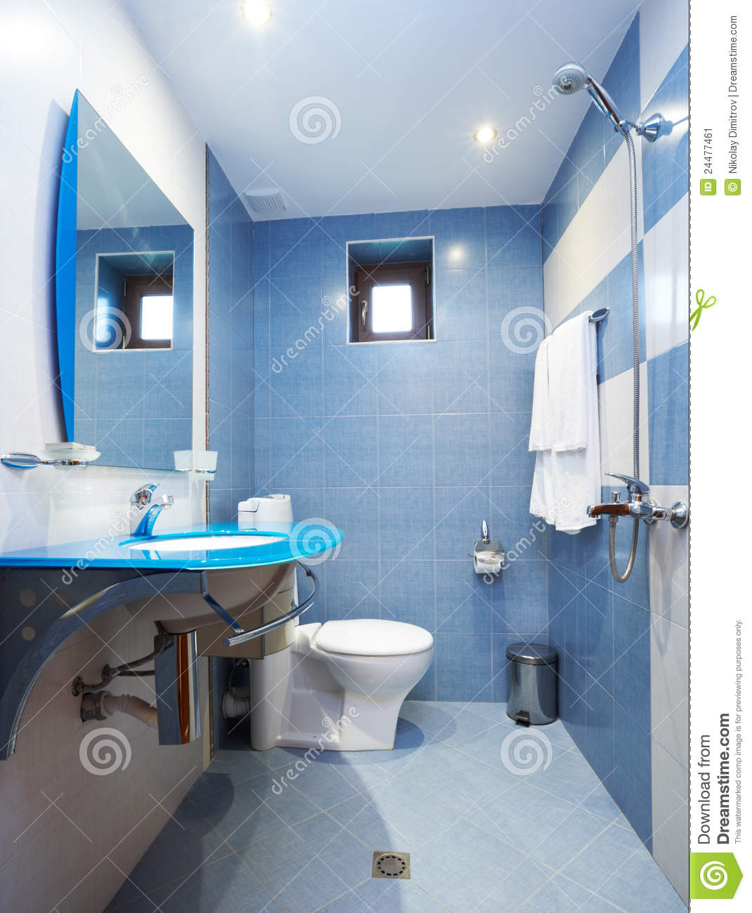 Modern Blue Bathroom Stock Image Image 24477461