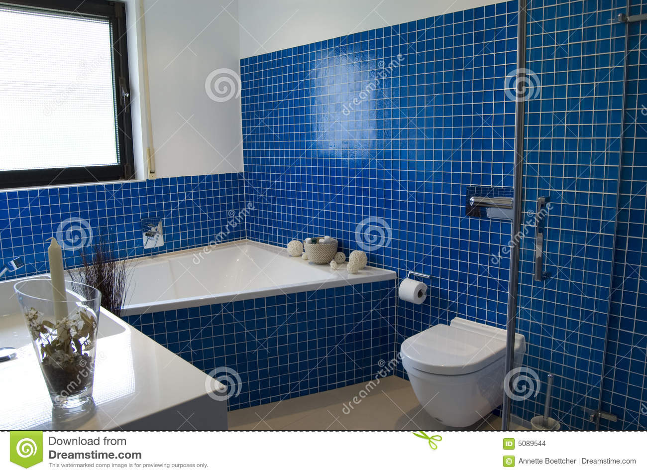 Modern Blue Bathroom stock photo. Image of hygiene, inside - 5089544