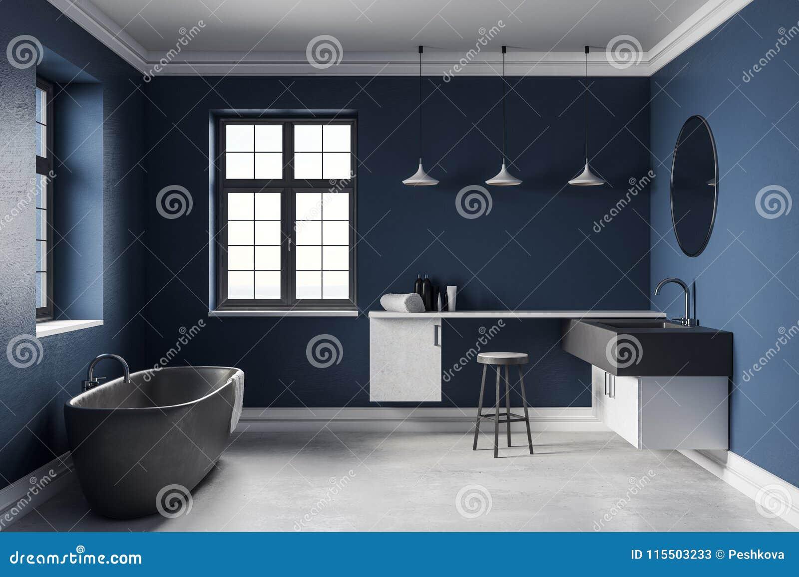 Modern Blue Bathroom Interior