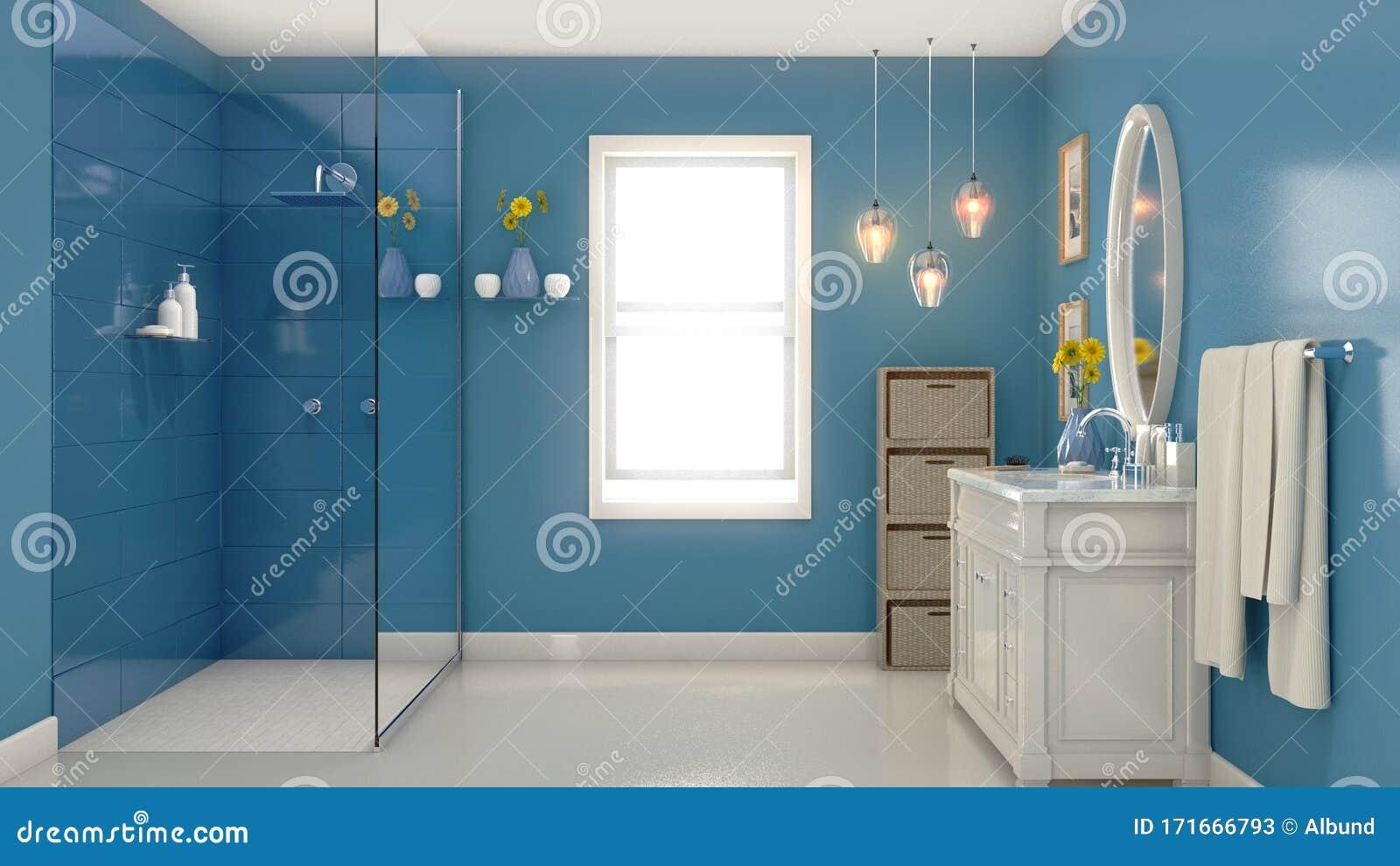 Modern Blue Bathroom Interior Stock Illustration Illustration Of Homely Mosaics 171666793