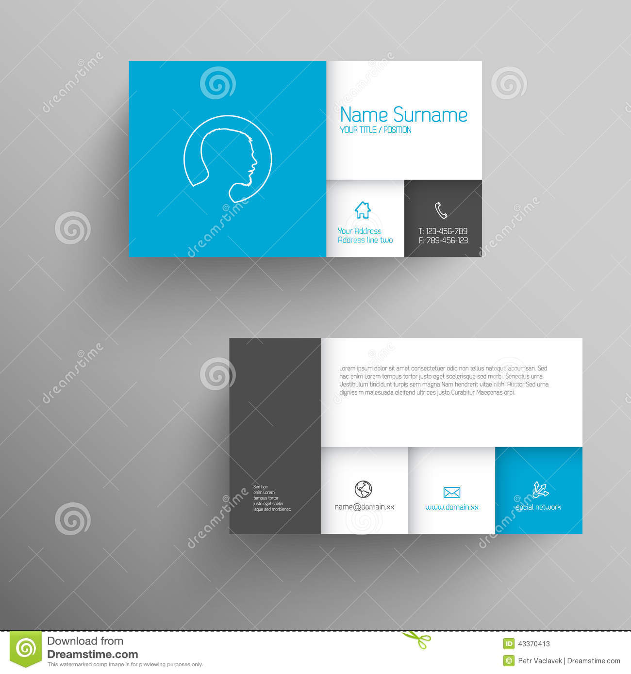 modern blue business card template stock illustration
