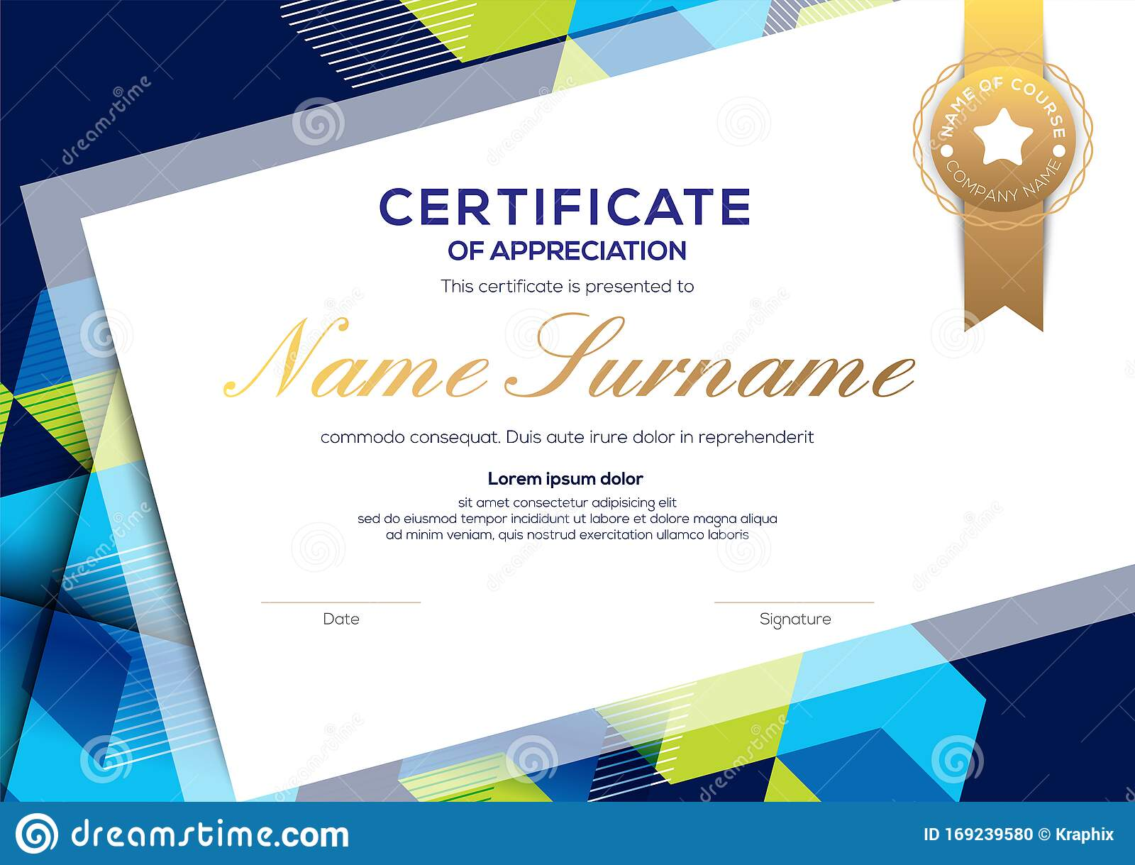 Modern Blue Certificate Of Completion Template With Abstract Background Stock Vector Illustration Of Honor Isometric 169239580