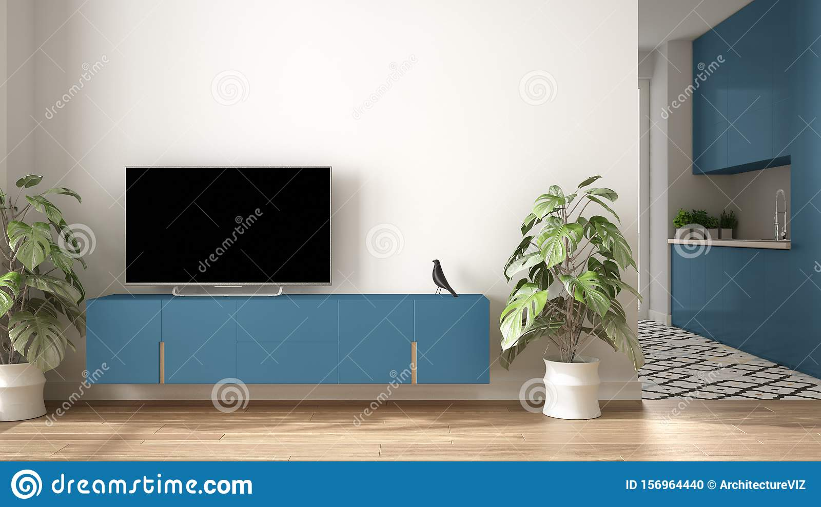 Modern Blue Colored Minimalist Living Room With Small Kitchen Parquet Floor Tv Cabinet Potted Plant Scandinavian Colored Tiles Stock Photo Image Of Potted Architectural 156964440
