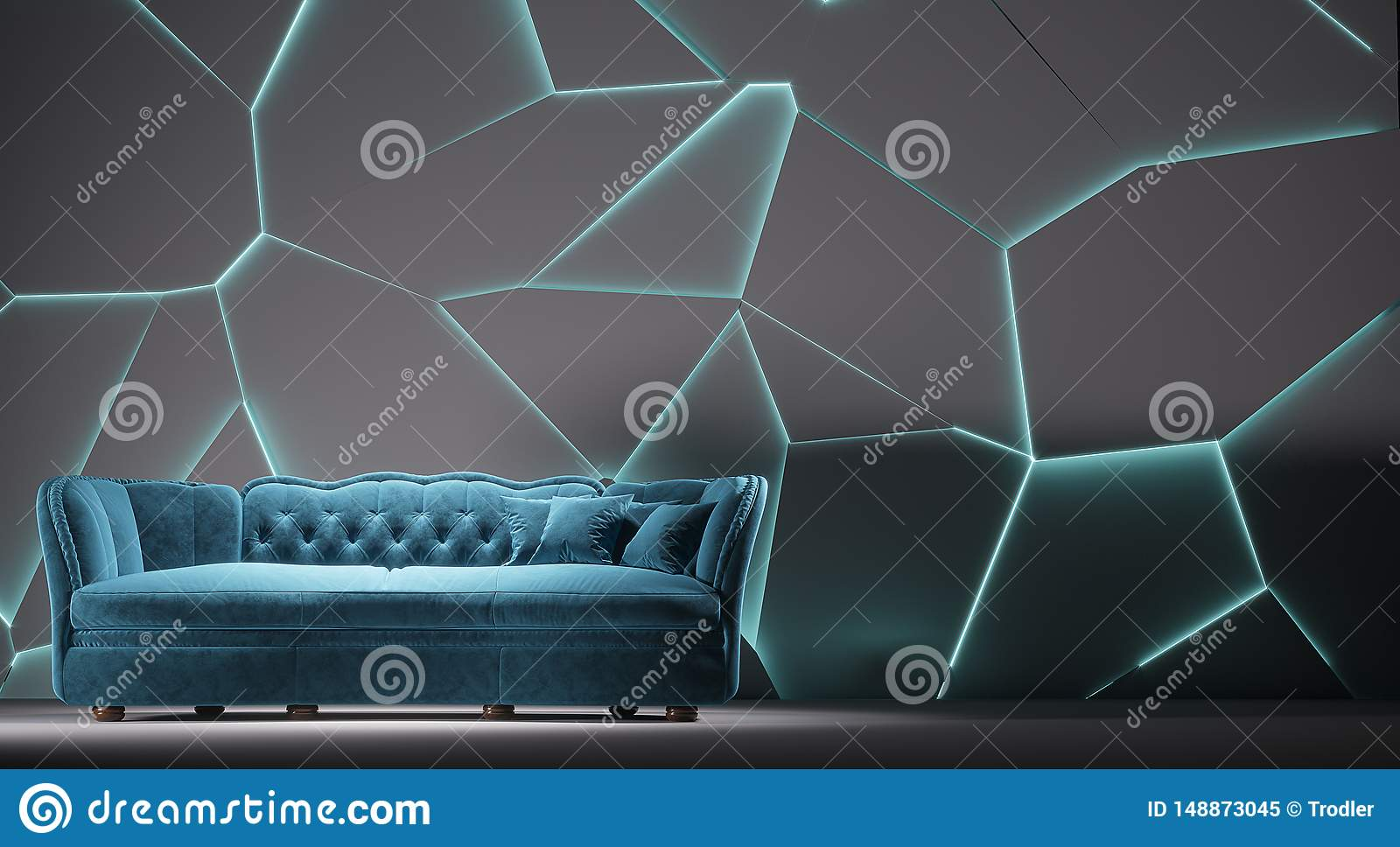 Enjoyable Modern Blue Fabric Sofa Chesterfield Style In White Room Gamerscity Chair Design For Home Gamerscityorg