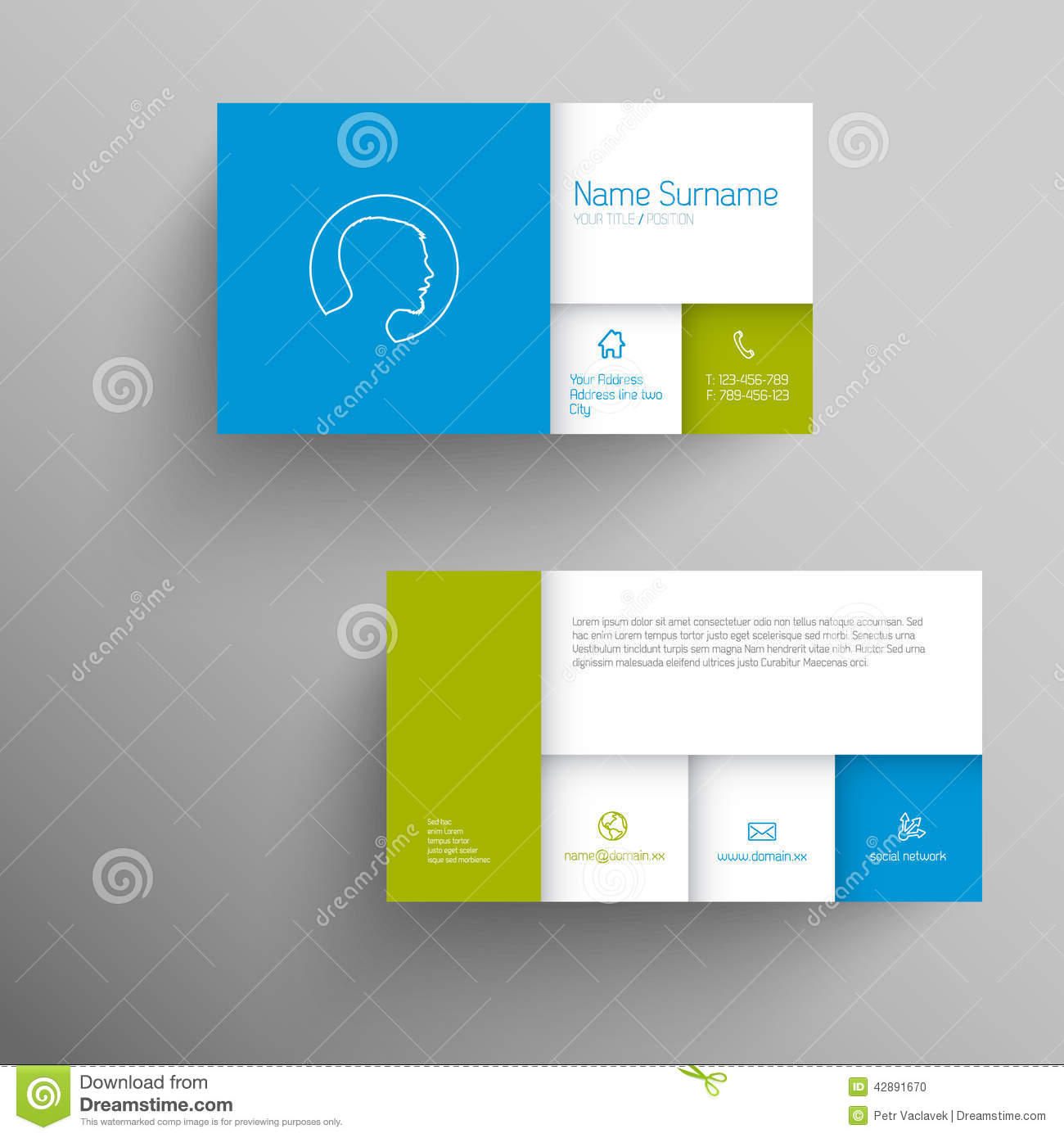 Modern blue green business card template stock illustration modern blue green business card template fbccfo