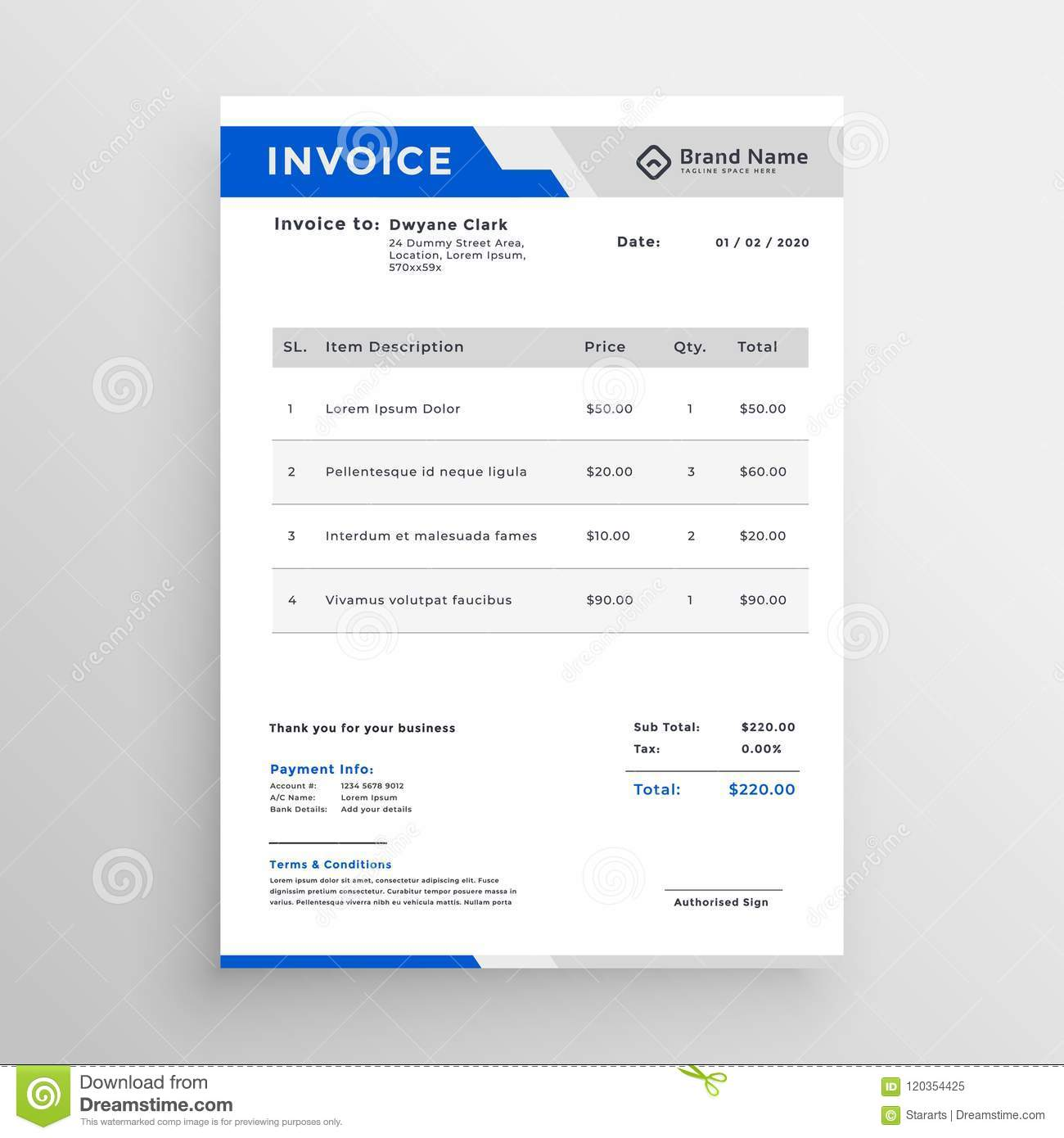 modern blue invoice template design stock vector