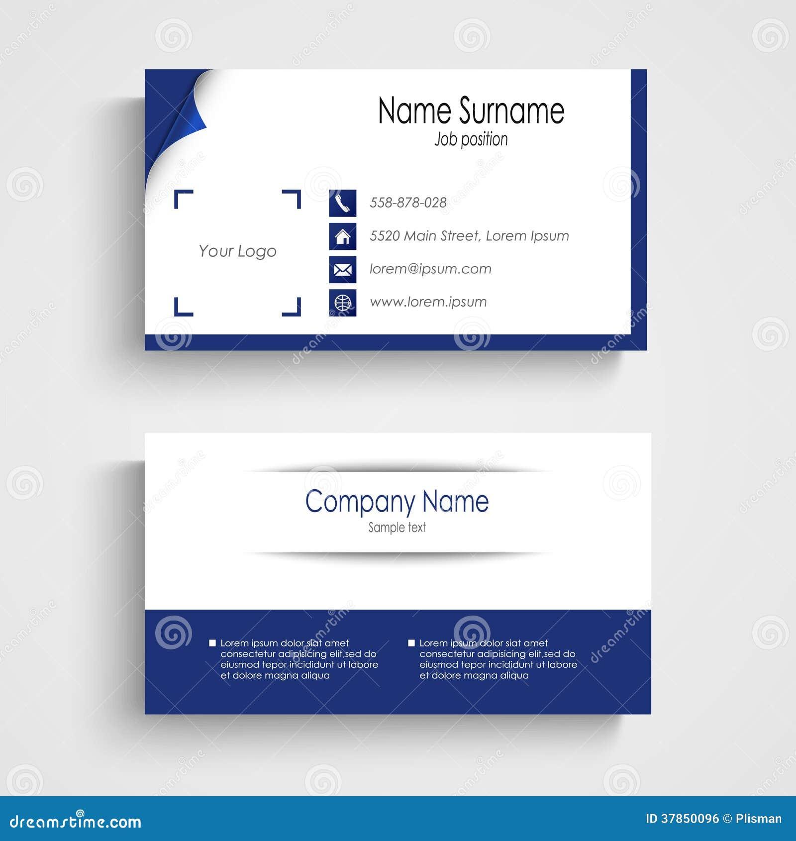Modern Blue Light Business Card Template Vector Eps 10