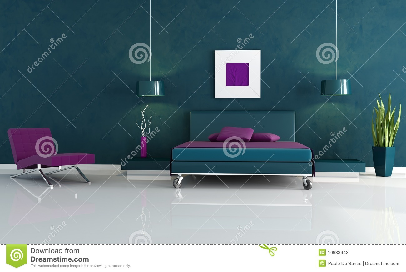 modern blue and purple bedroom stock photos - image: 10983443