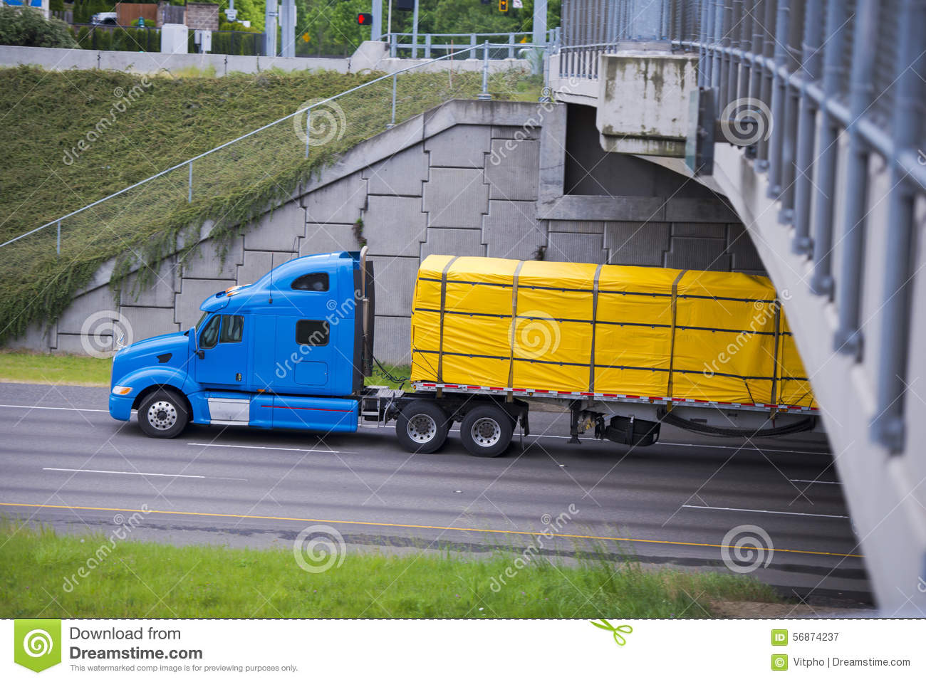 Semi Trailer Covers : Modern blue semi truck with yellow cover cargo on trailer