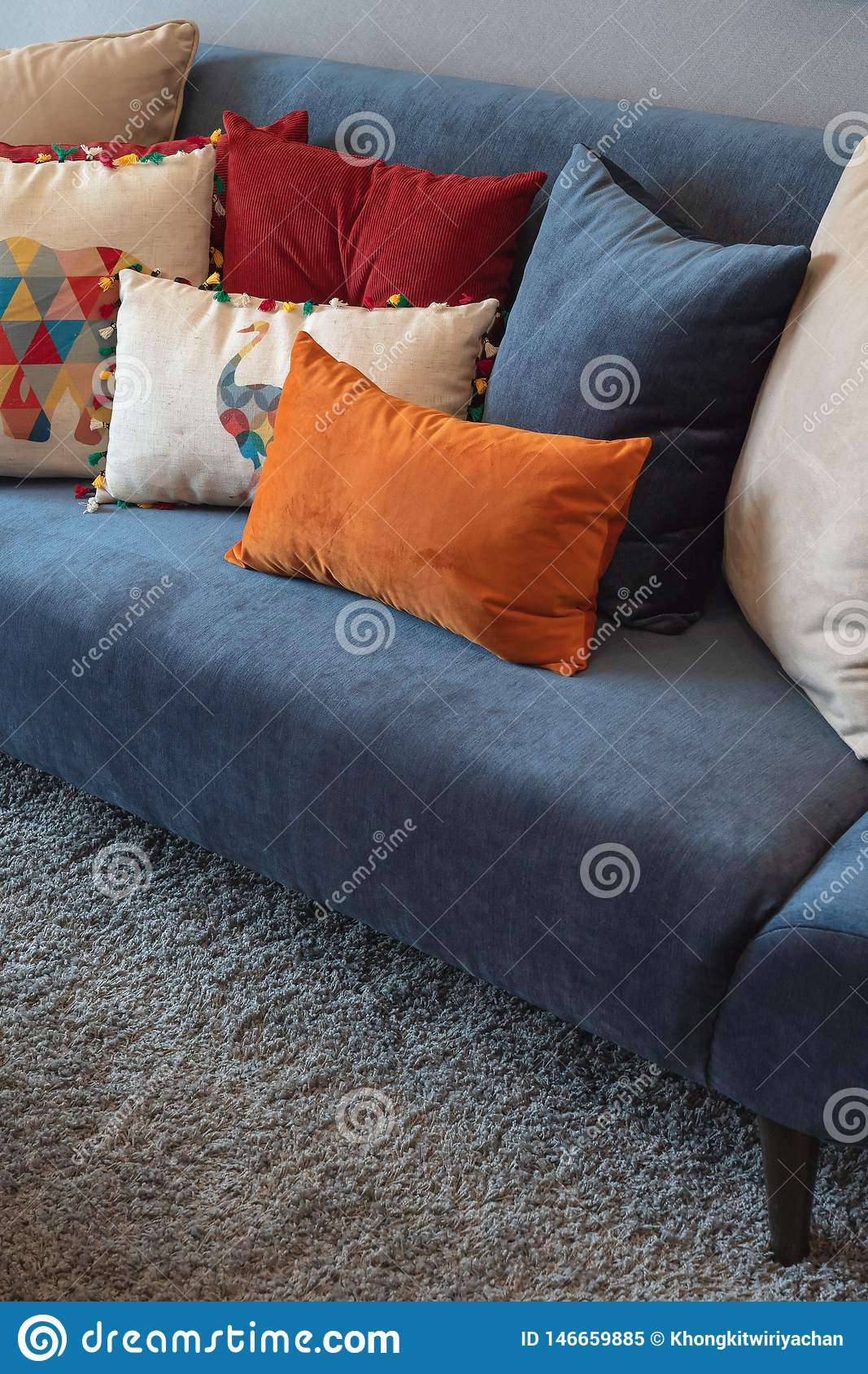 Modern Blue Sofa With Colorful Pillows Stock Image Image Of Pillow Light 146659885