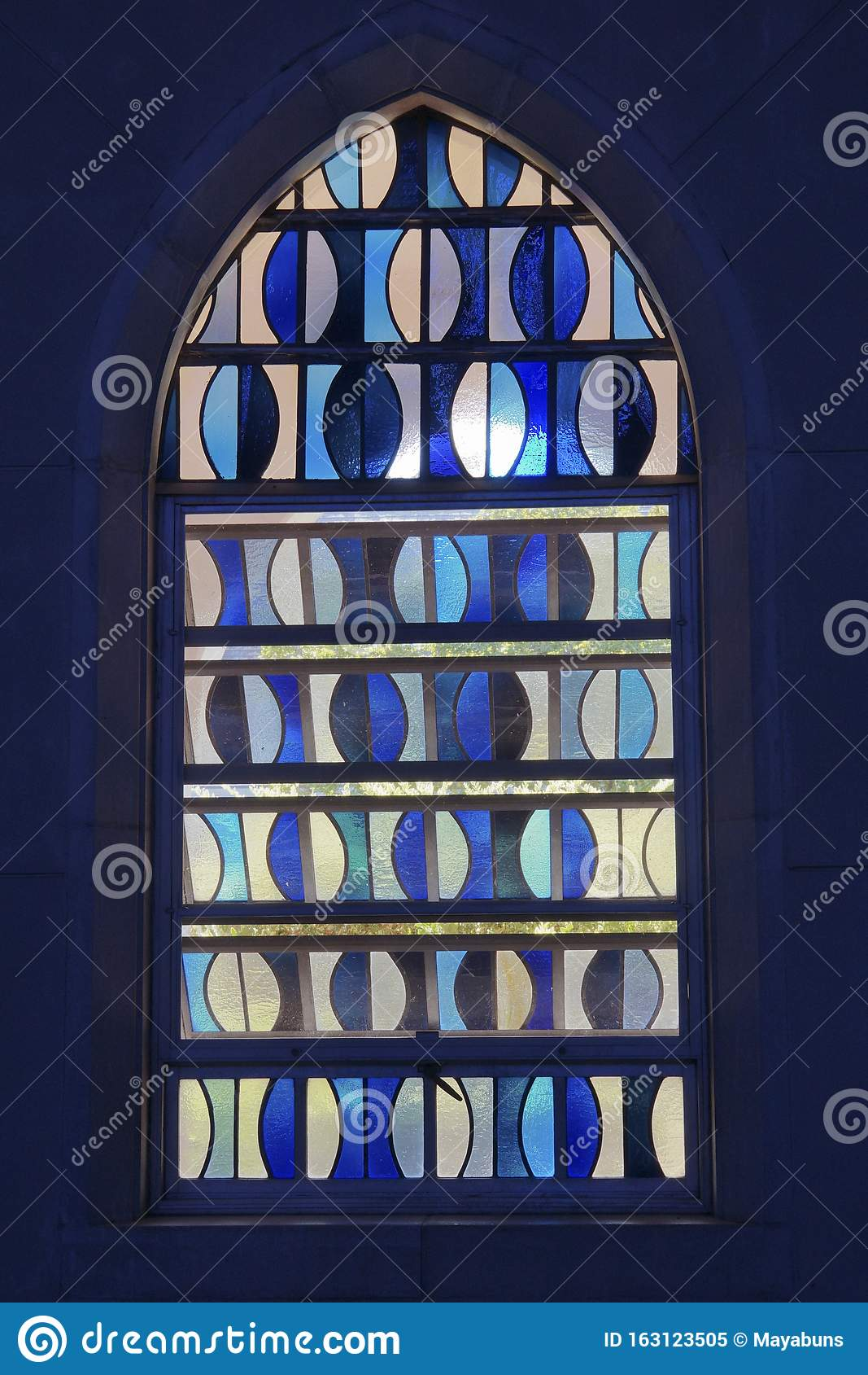 Image of: Modern Blue Stained Glass Window Stock Image Image Of Bright Stained 163123505