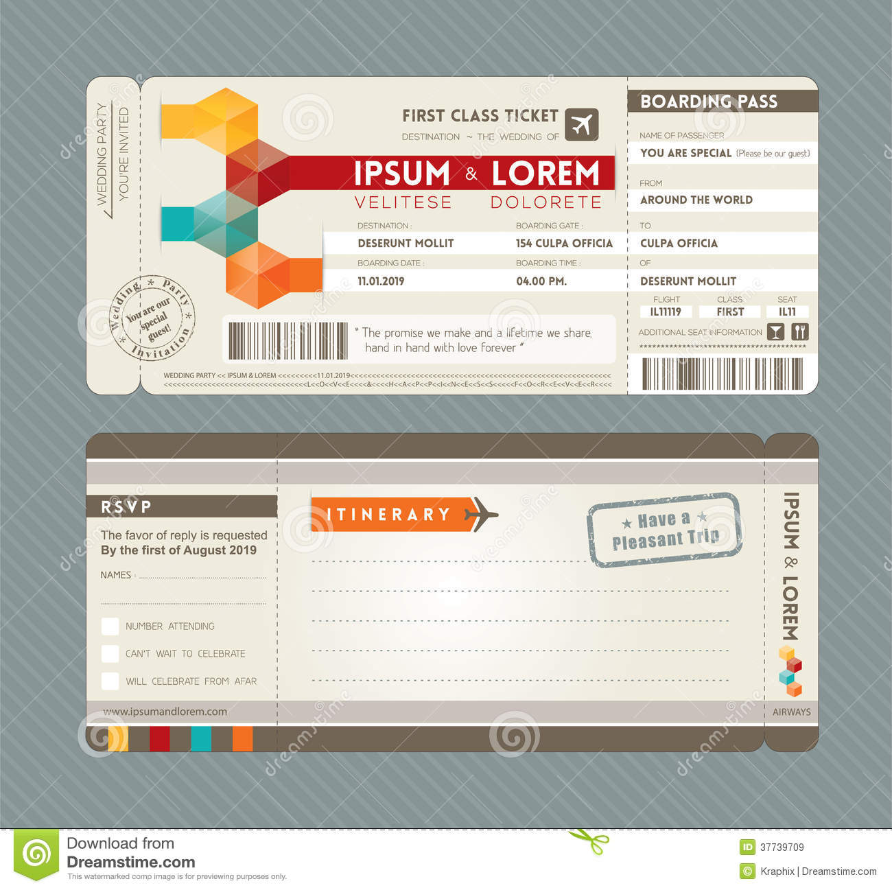 Modern Boarding Pass Wedding Invitation Design Tem Stock