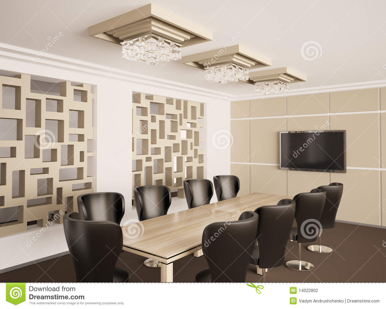 Modern Boardroom Interior 3d Render Stock Photography