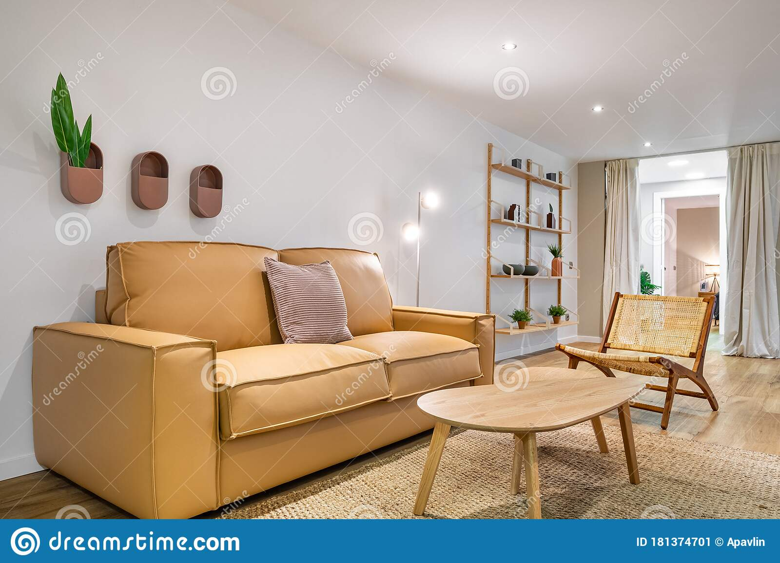 Modern Boho Interior Of Living Room At Cozy Apartment With Beige Sofa Wooden Table Wicker Chair Stylish Home Decor Stock Image Image Of Beige Decoration 181374701