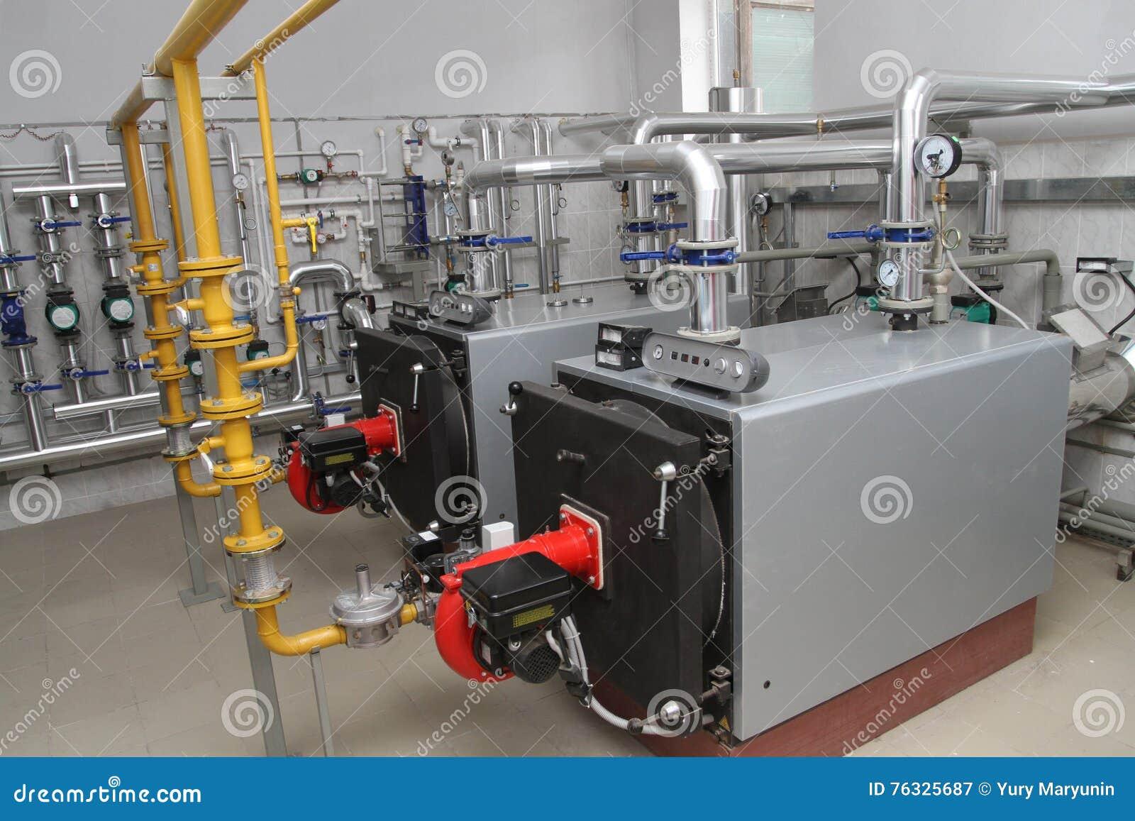 Modern boiler-house stock image. Image of water, exchanger - 76325687
