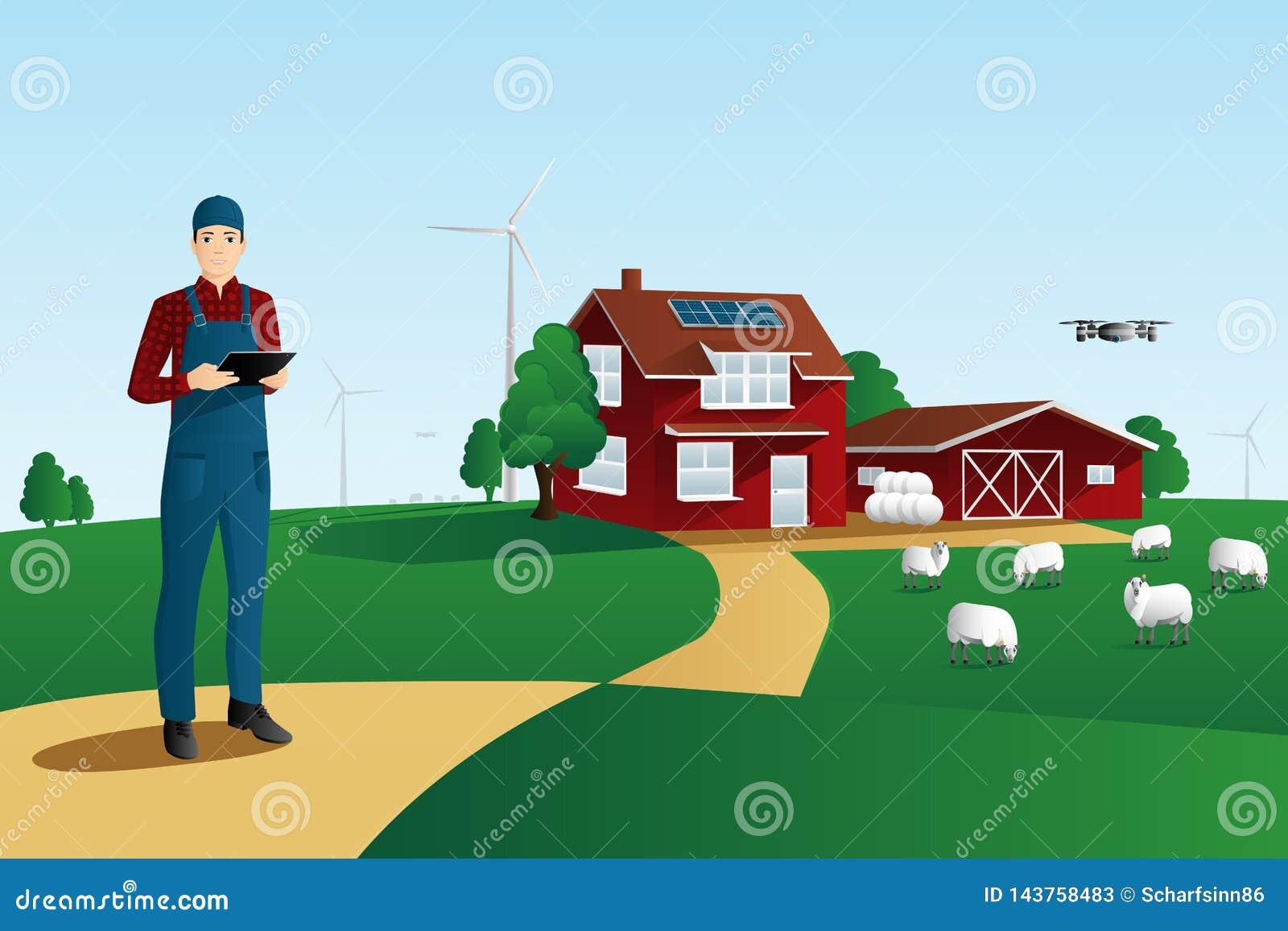 Modern bonde på en smart lantgård