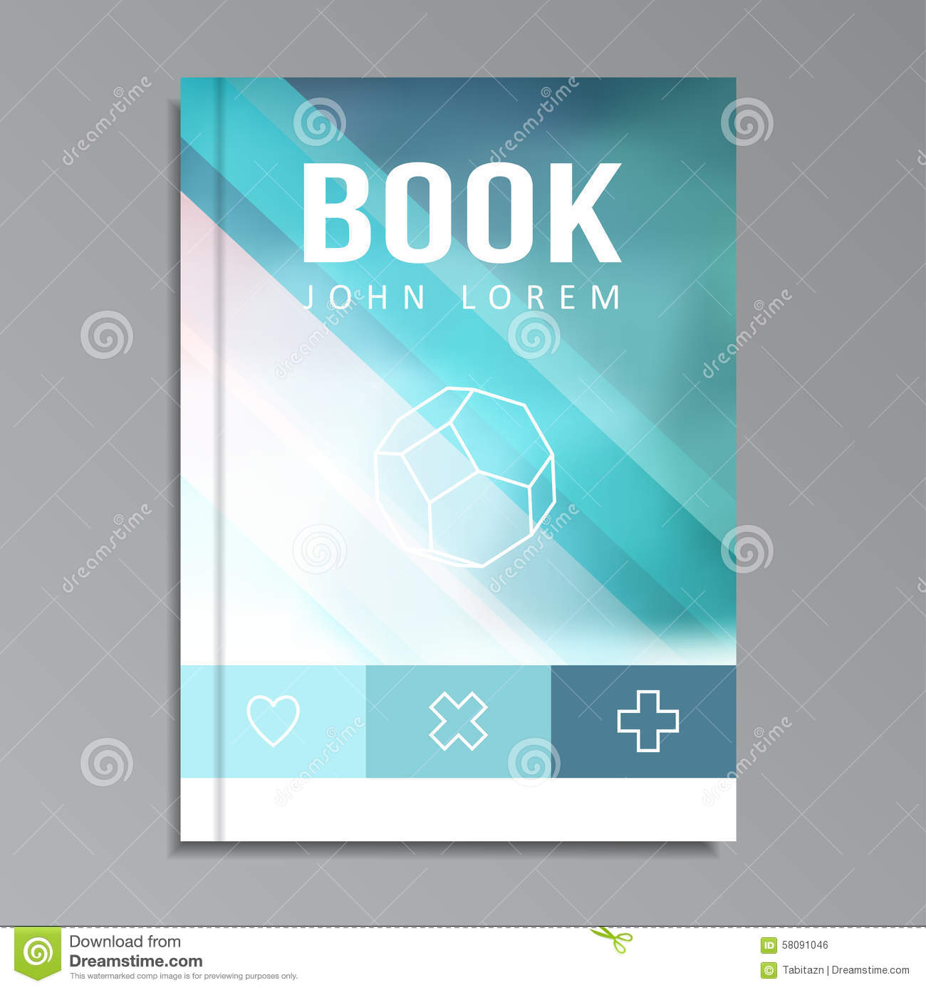 Modern Book Cover : Modern book brochure cover with blue blurred background