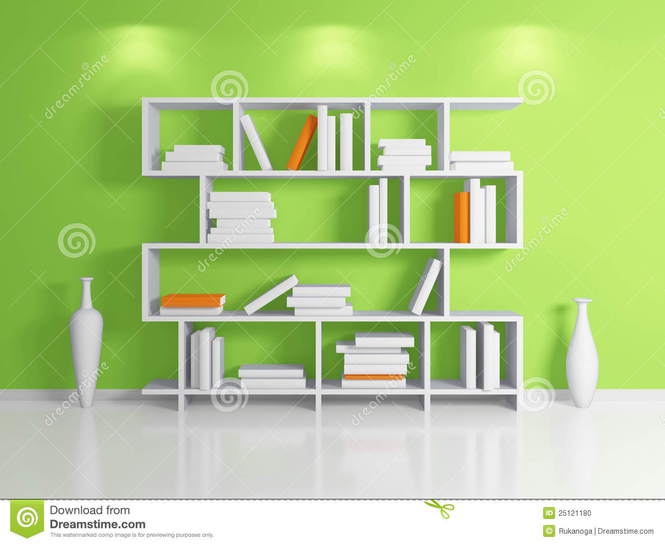 Modern Bookshelf Stock Illustration Image Of Clay