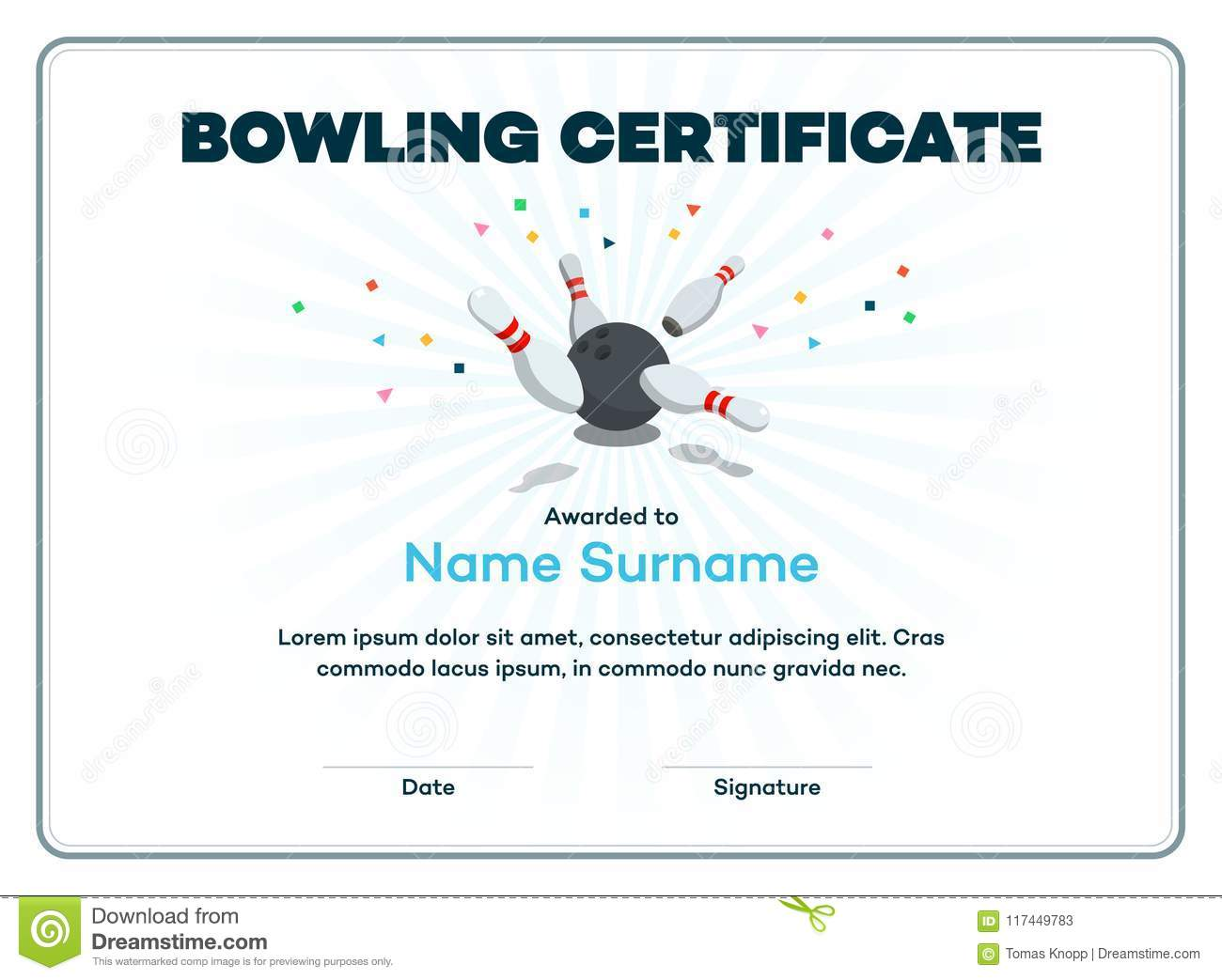 Modern Bowling Certificate With Place For Your Content Scattered