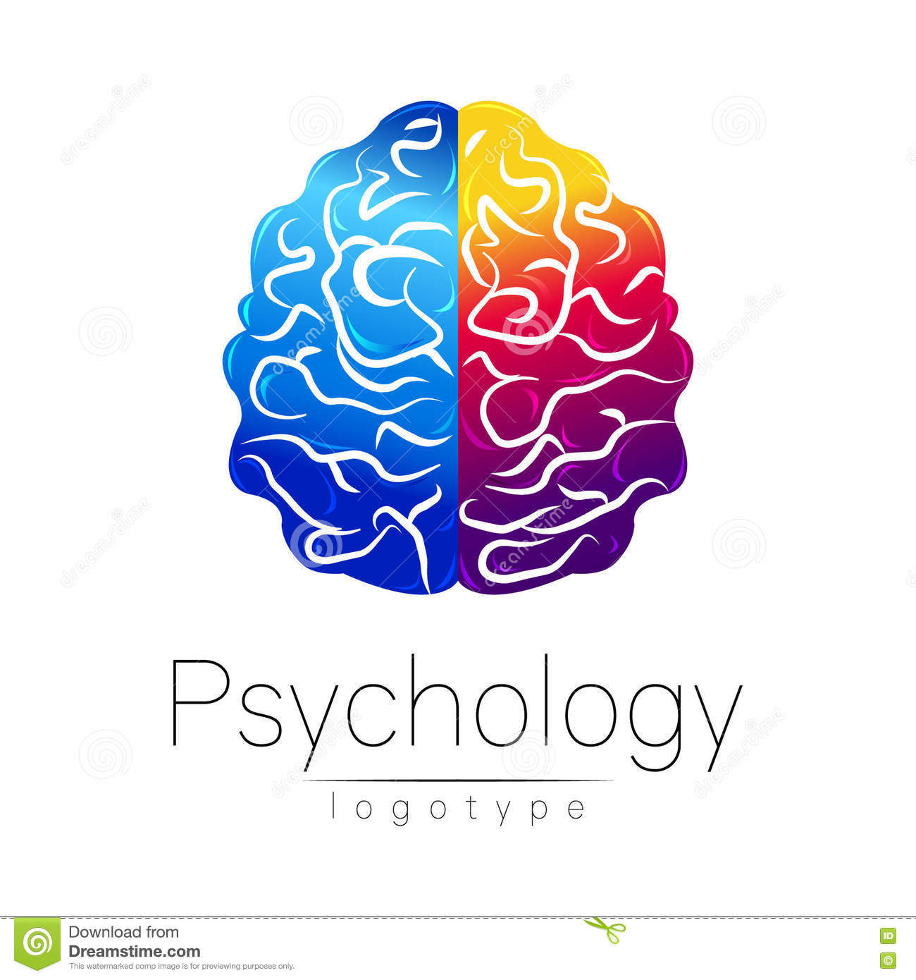 Modern Brain logo of Psychology. Human. Creative style. Logotype in vector. Design concept. Brand company. Blue violet