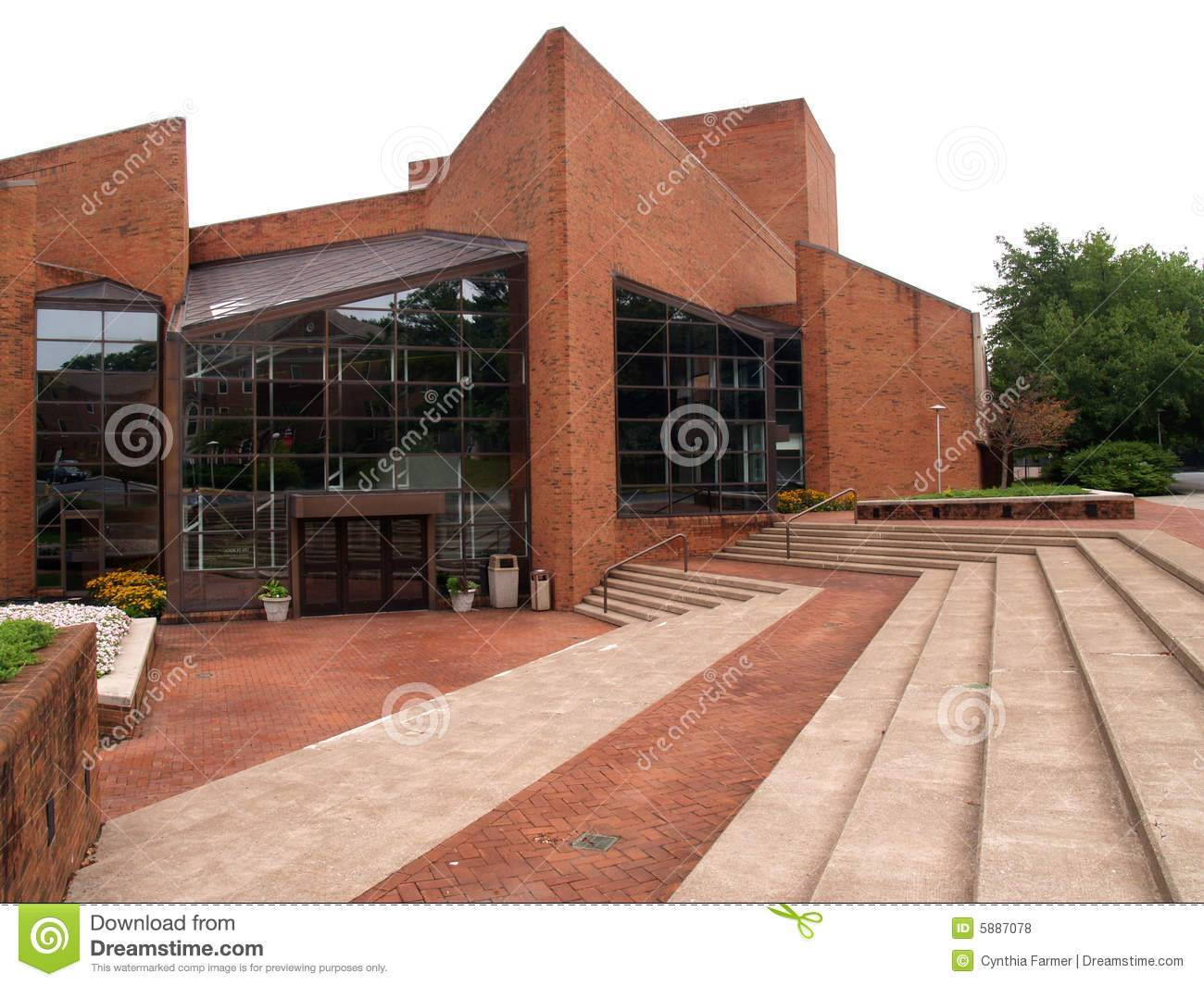 Modern brick building stock photo image of campus for Brick house construction