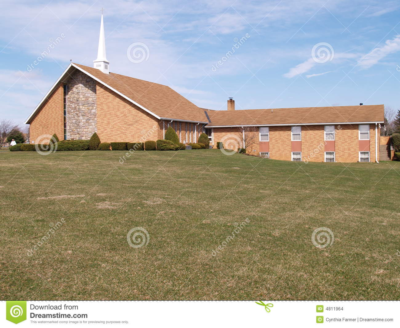 Modern Brick Church With Grass Lawn Stock Images Image