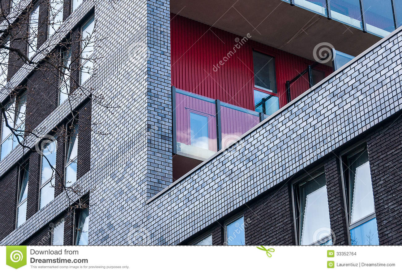 Modern brick facade stock photo image of detail inner for Brick facade house