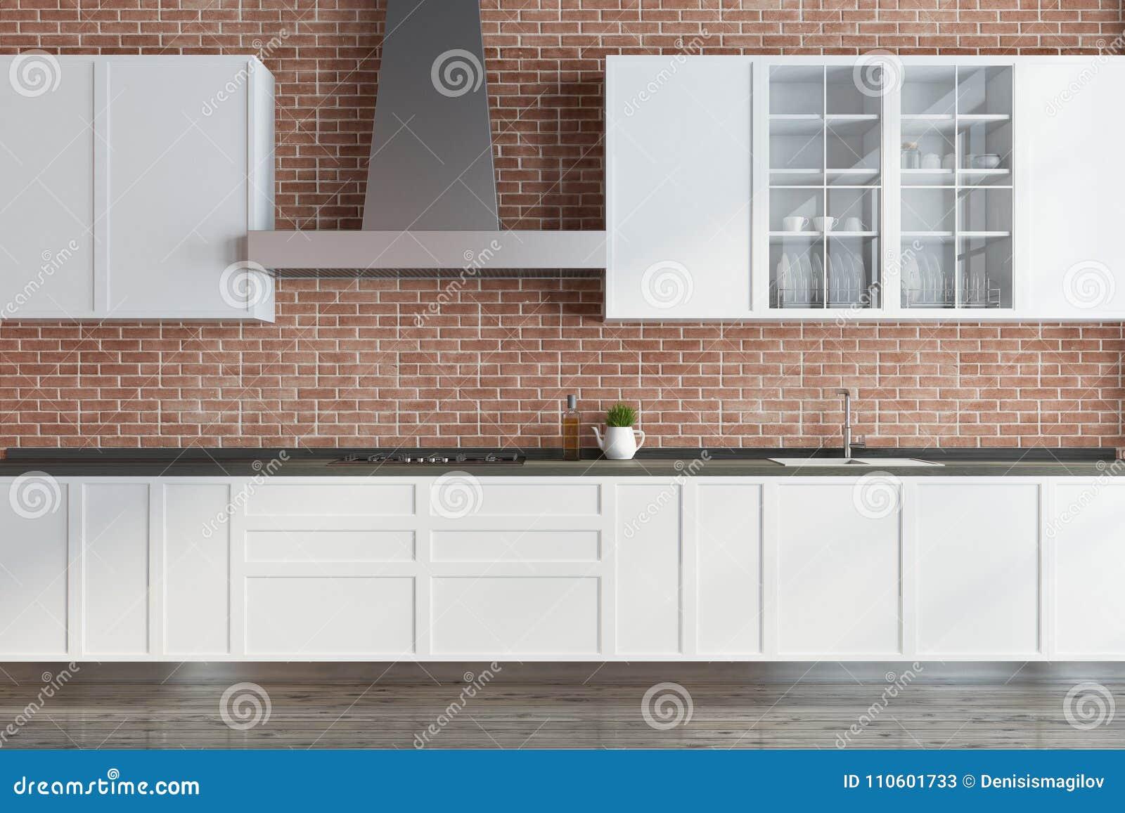 Download Modern Brick Kitchen, White Countertops Stock Illustration    Illustration Of House, Prestige: