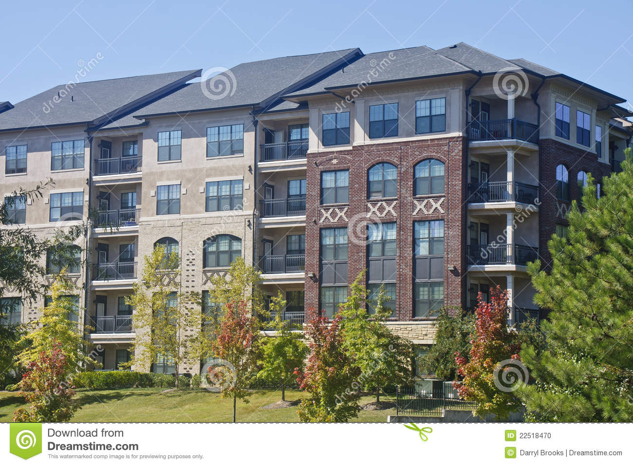 Brick Apartment Building Illustration. Modern Brick and Stucco Apartment Building And Stock Photo  Image of