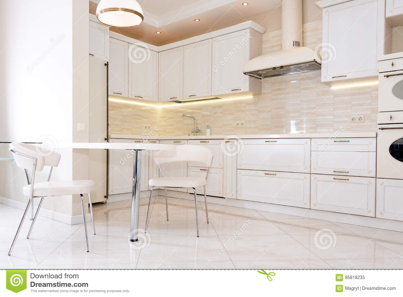 Modern Bright Clean Kitchen Interior In A Luxury House Interior Design With Classic Or
