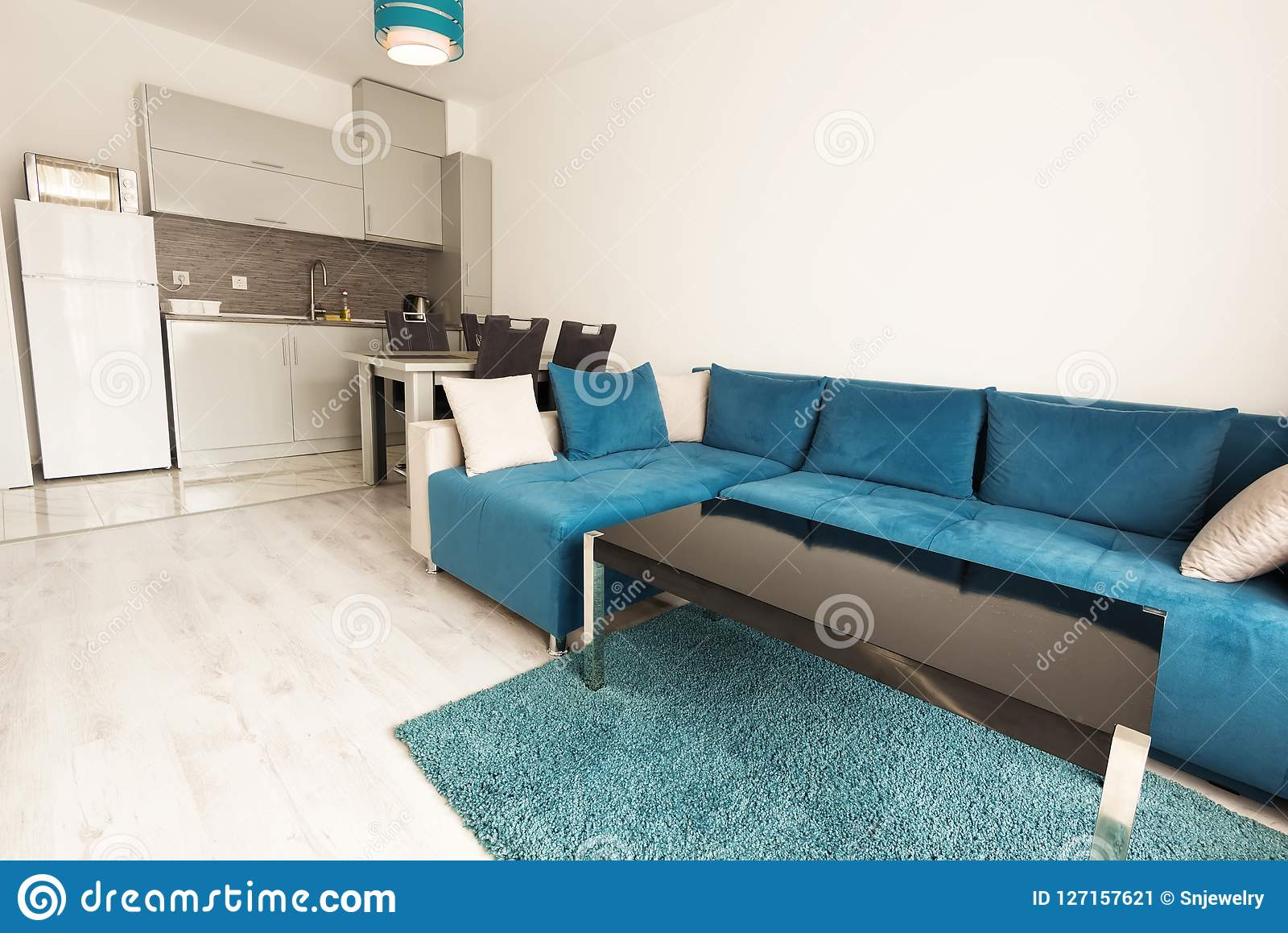 Modern Bright And Cozy Living Room Interior Design With Sofa
