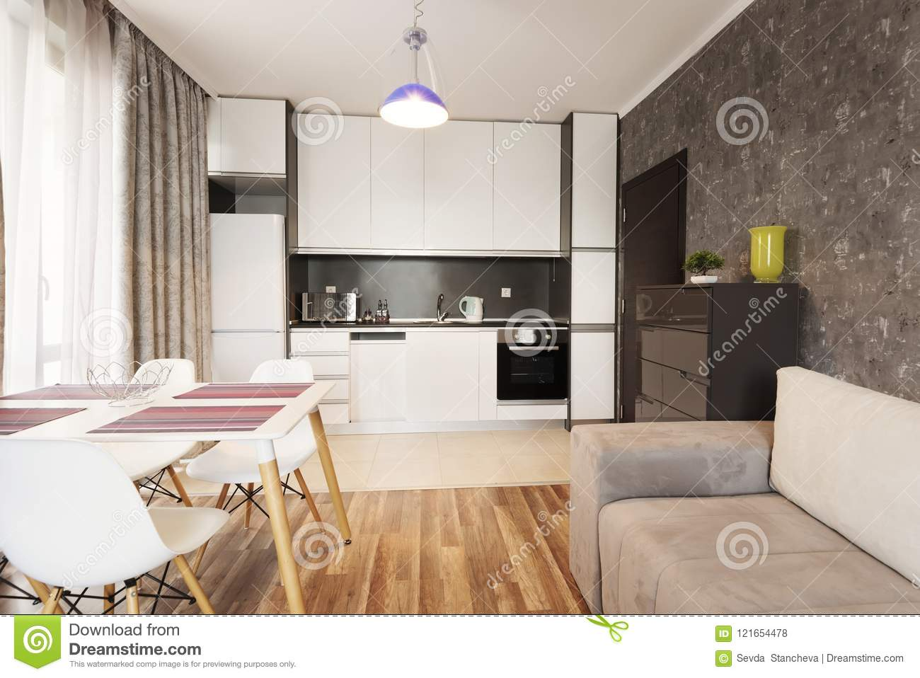 Modern Bright And Cozy Living Room Interior Design With Sofa Dining Table And Kitchen Grey And White Studio Apartment Stock Photo Image Of House Floor 121654478
