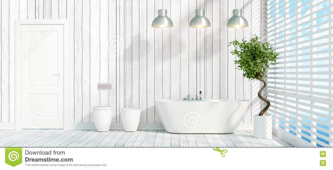 3d rendering wood bright bathroom with modern decor for Bright bathroom sets