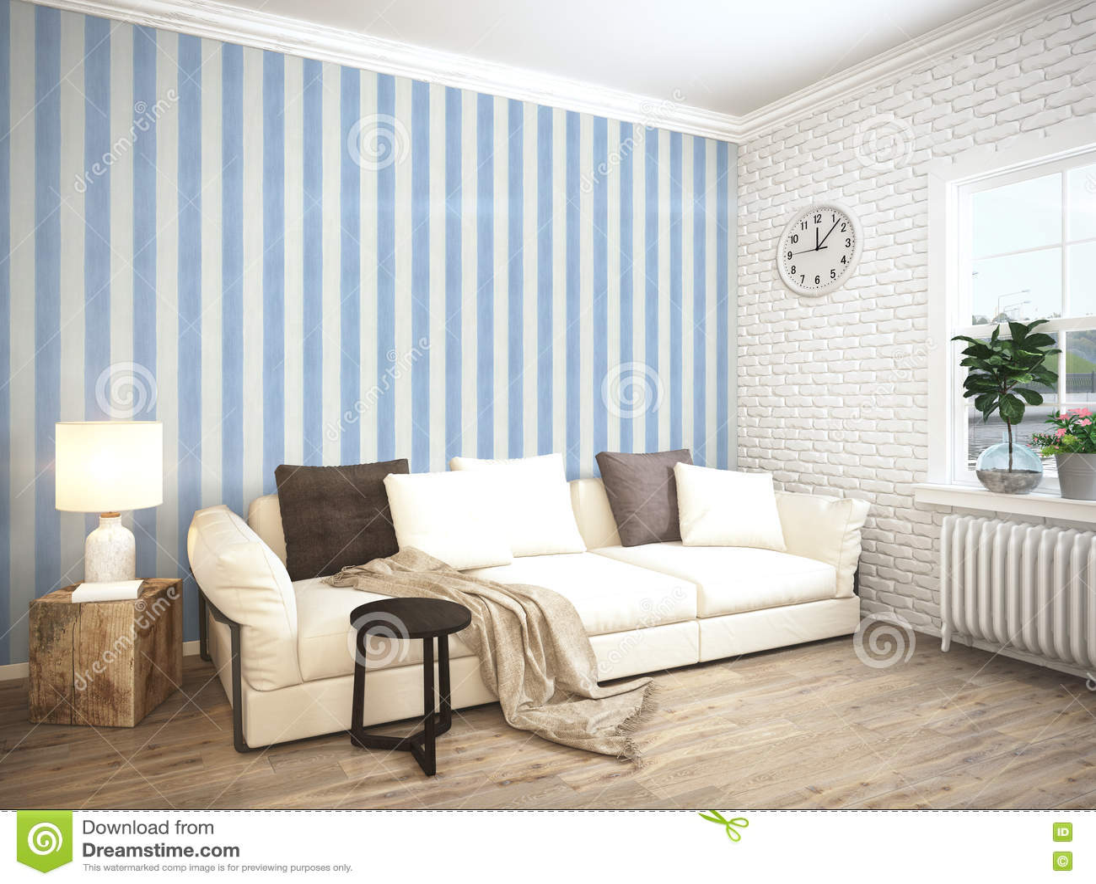 Modern Bright Interior 3D Rendering Royalty Free Stock