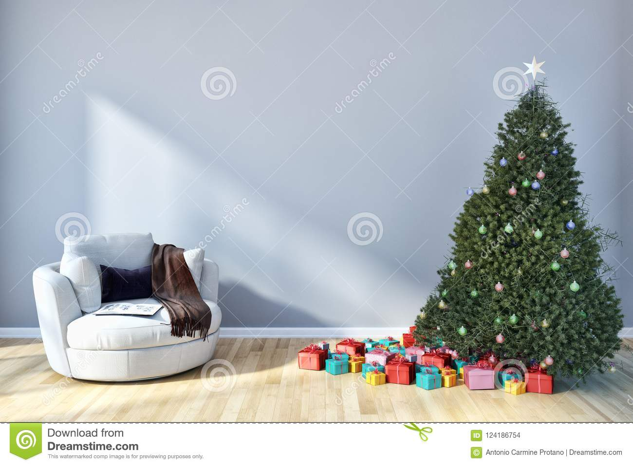 modern bright interiors apartment living room with Christmas tree, 3D rendering illustration