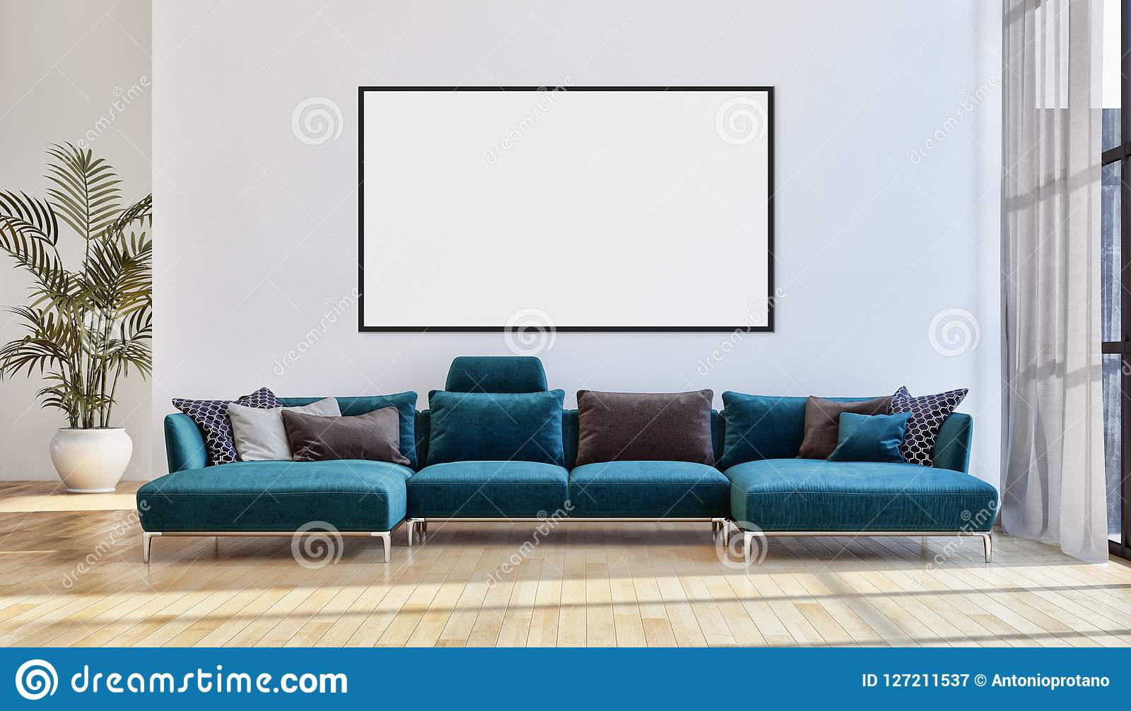 Modern Bright Interiors Apartment With Mock Up Poster ...