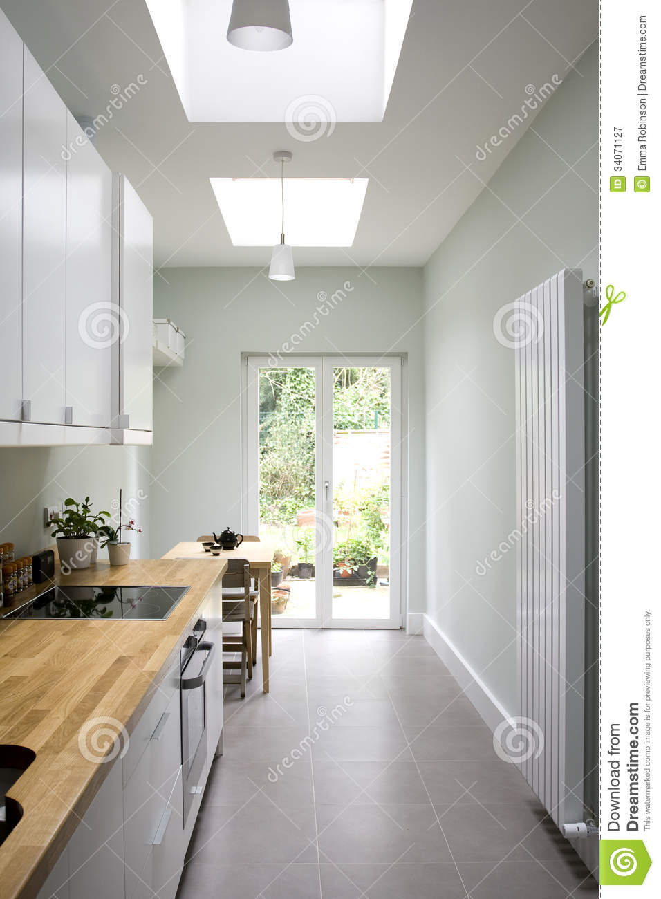 Modern Bright Kitchen Galley Style Royalty Free Stock