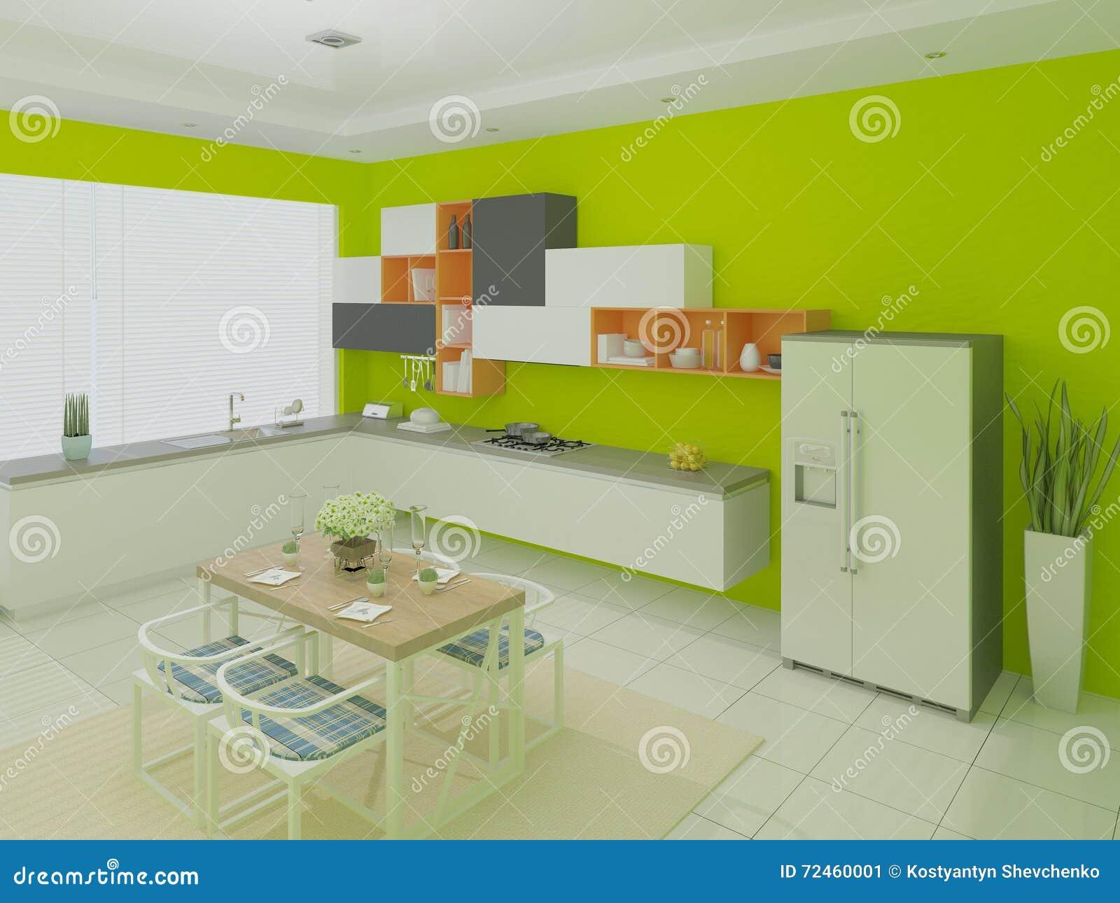 Modern bright kitchen stock illustration image 72460001 for Light green kitchen walls