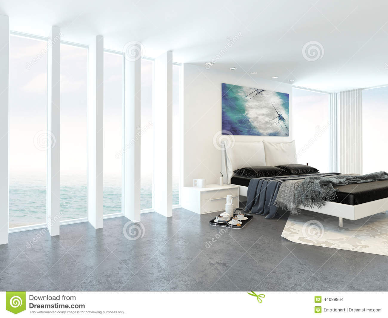 Modern bright light bedroom interior stock illustration for Glass ceiling bedroom