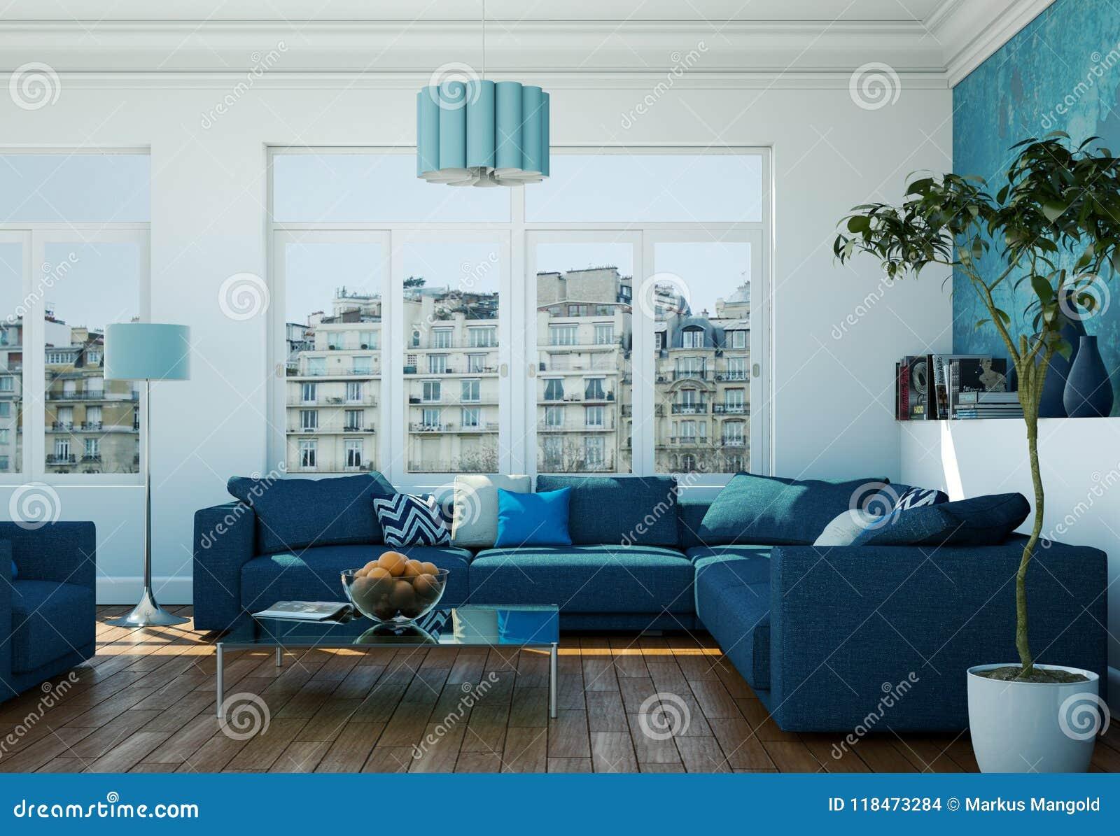 Modern Bright Living Room Interior Design With Blue Sofas ...