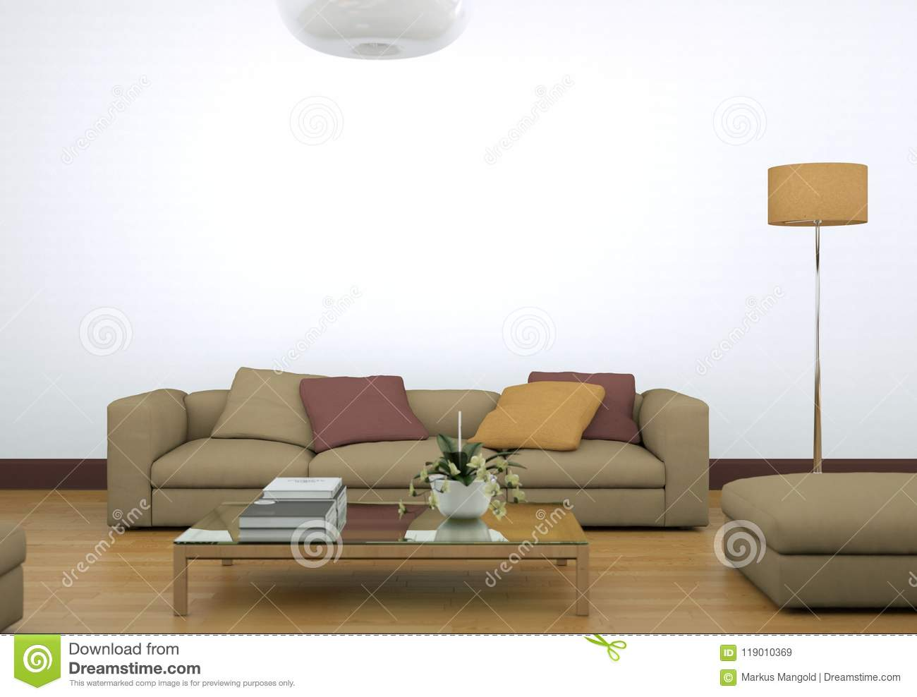 Modern bright living room interior design with sofa