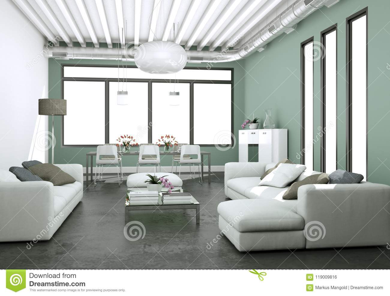 Modern Bright Living Room Interior Design With Sofas And Grey Walls Stock Illustration Illustration Of Openspace Grey 119009816