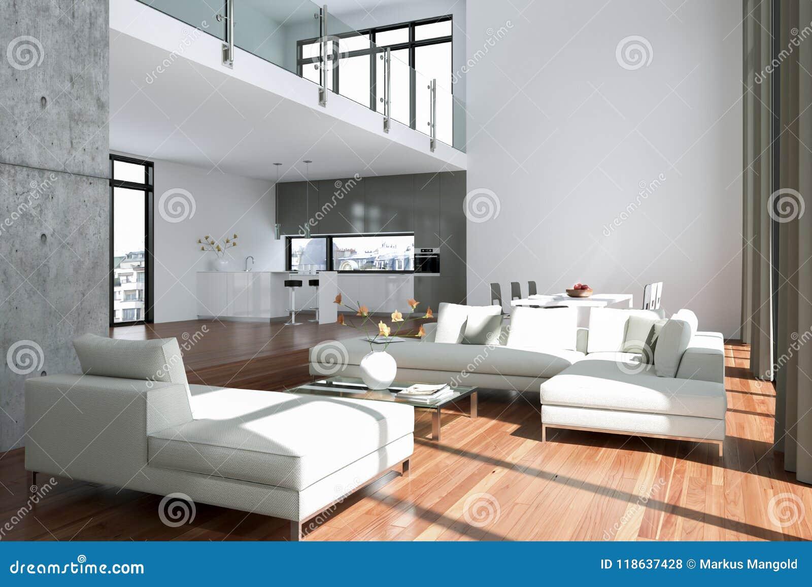 Download Modern Bright Loft With Big Windows Interior Design Stock Illustration - Illustration of contemporary & Modern Bright Loft With Big Windows Interior Design Stock ...