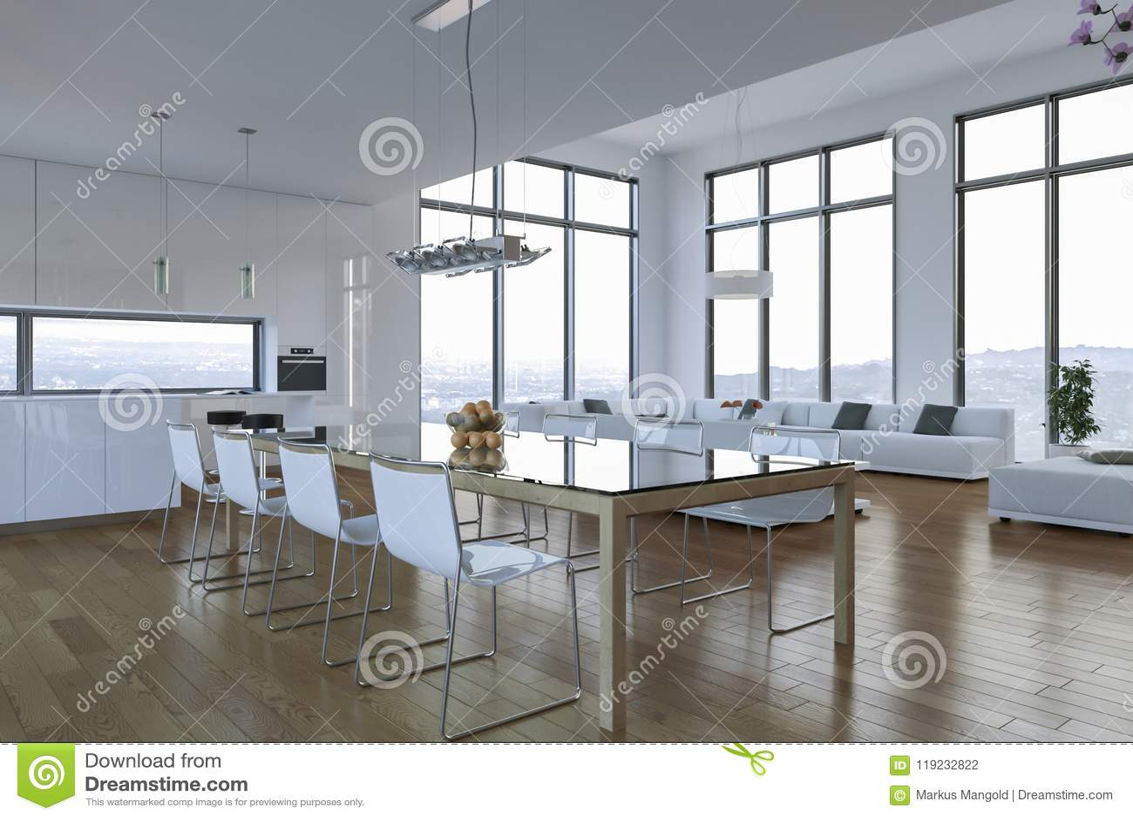 Modern bright loft with big Windows interior design & Modern Bright Loft With Big Windows Interior Design Stock ...
