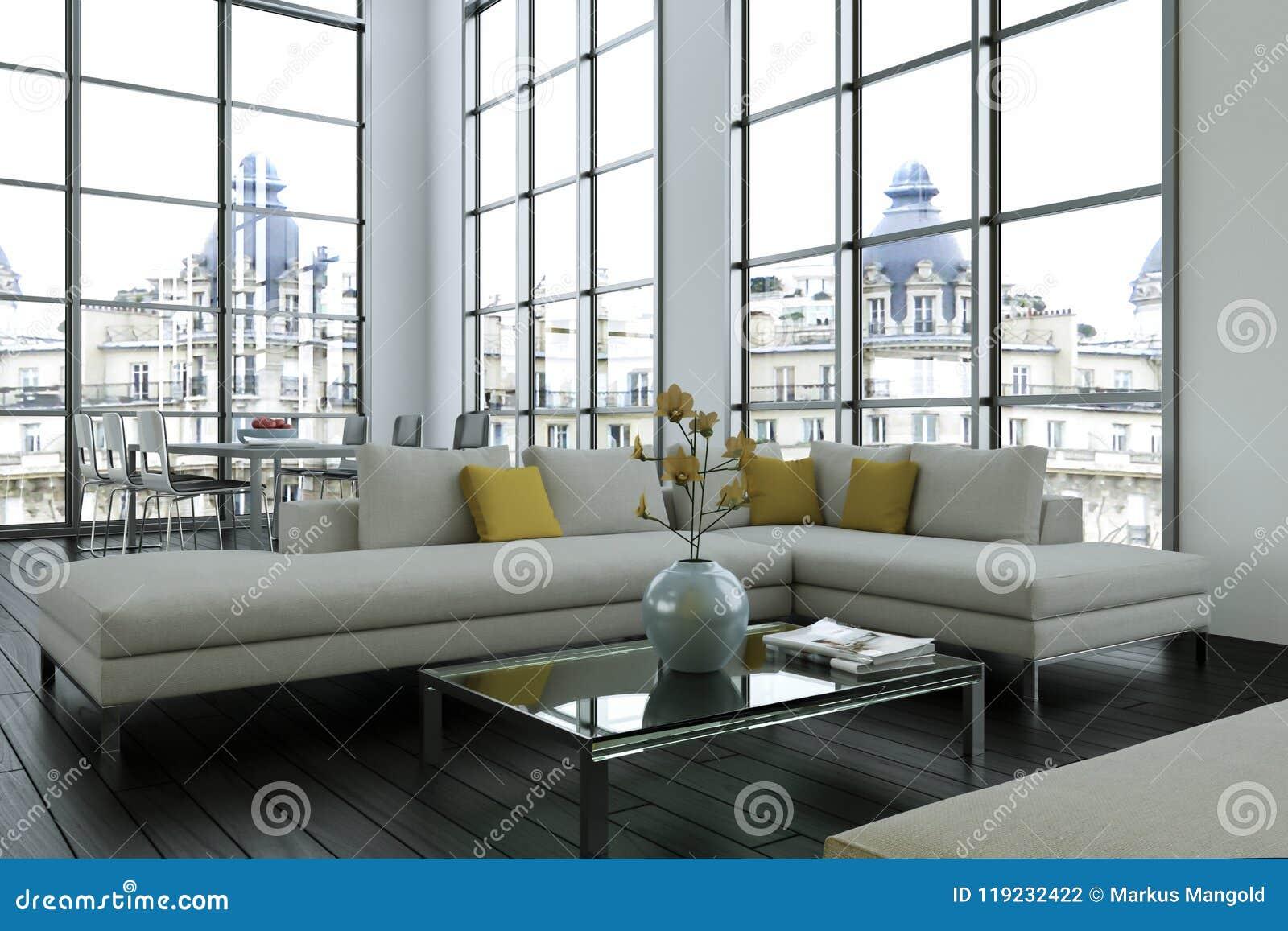 Modern Bright Loft With Big Windows Interior Design