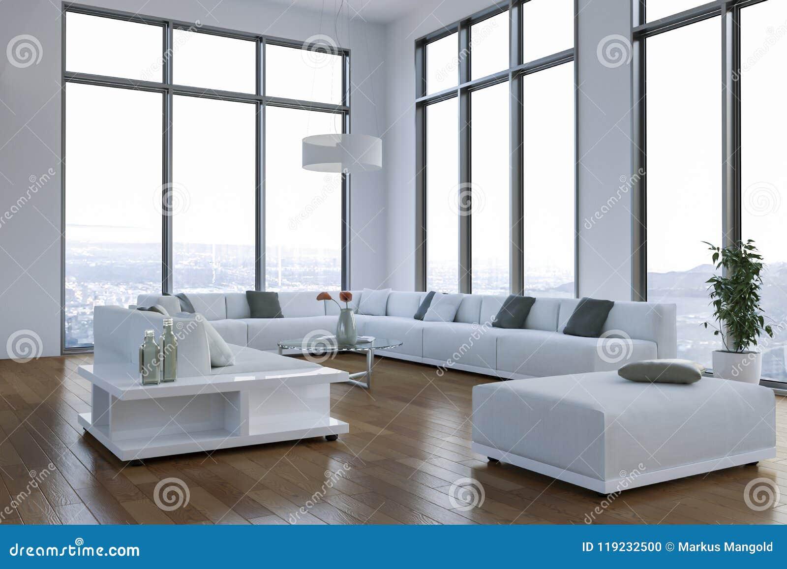 Download Modern Bright Loft With Big Windows Interior Design Stock Illustration - Illustration of bright & Modern Bright Loft With Big Windows Interior Design Stock ...