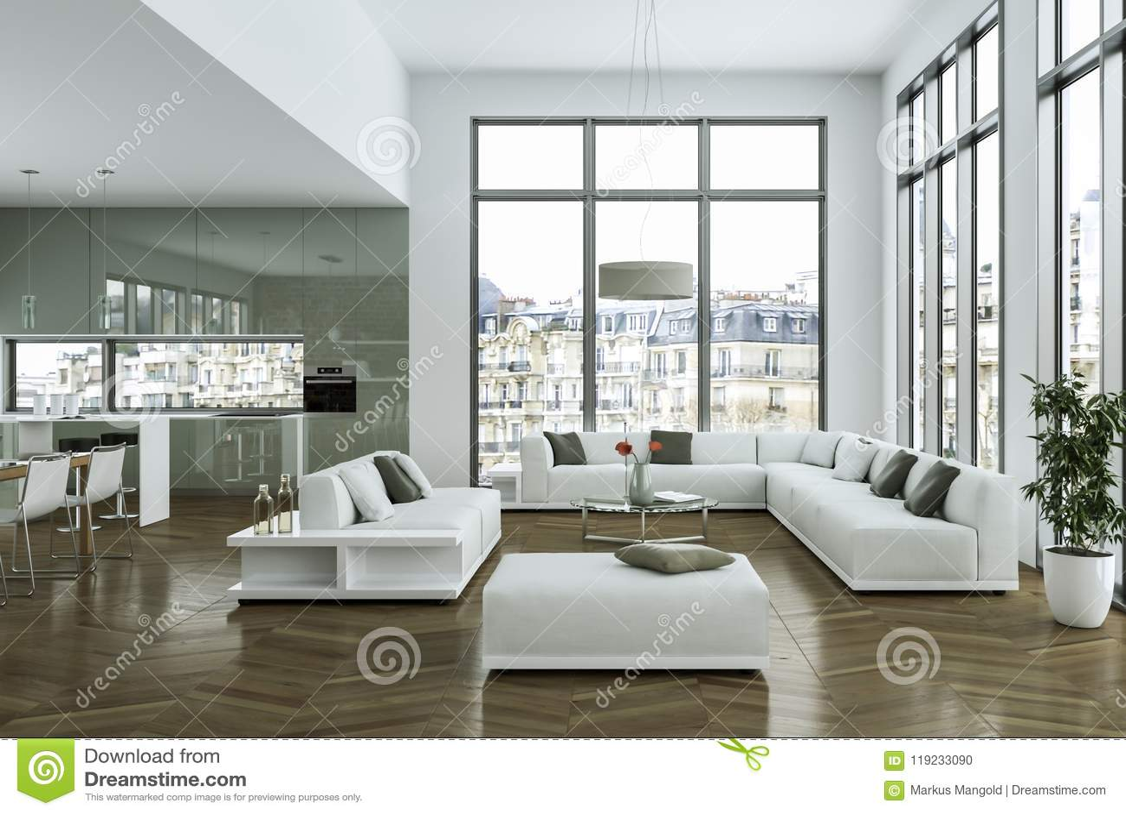 Modern Bright Loft With Big Windows Interior Design 3d Illustration