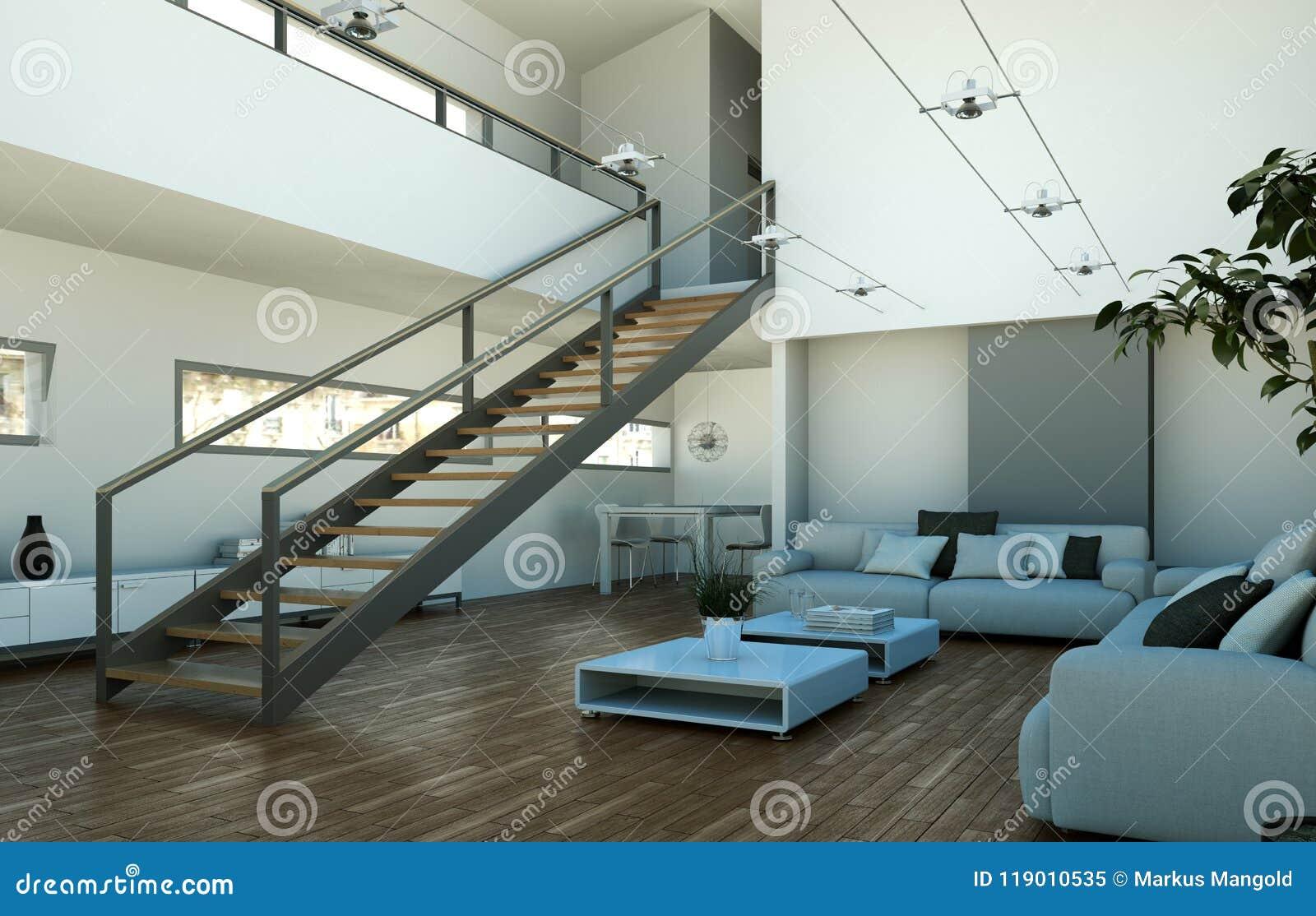 modern bright loft interior design with stairway to second floor rh dreamstime com