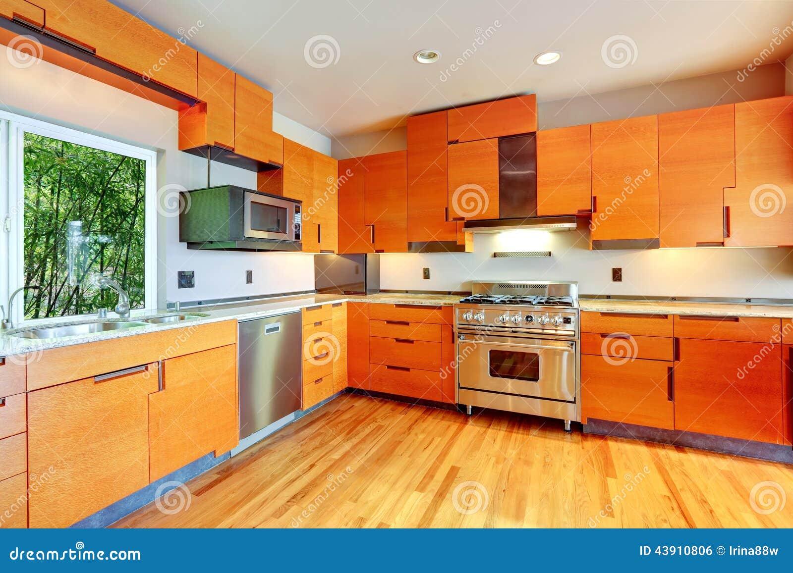 Modern Bright Orange Kitchen Room Stock Photo - Image of ...