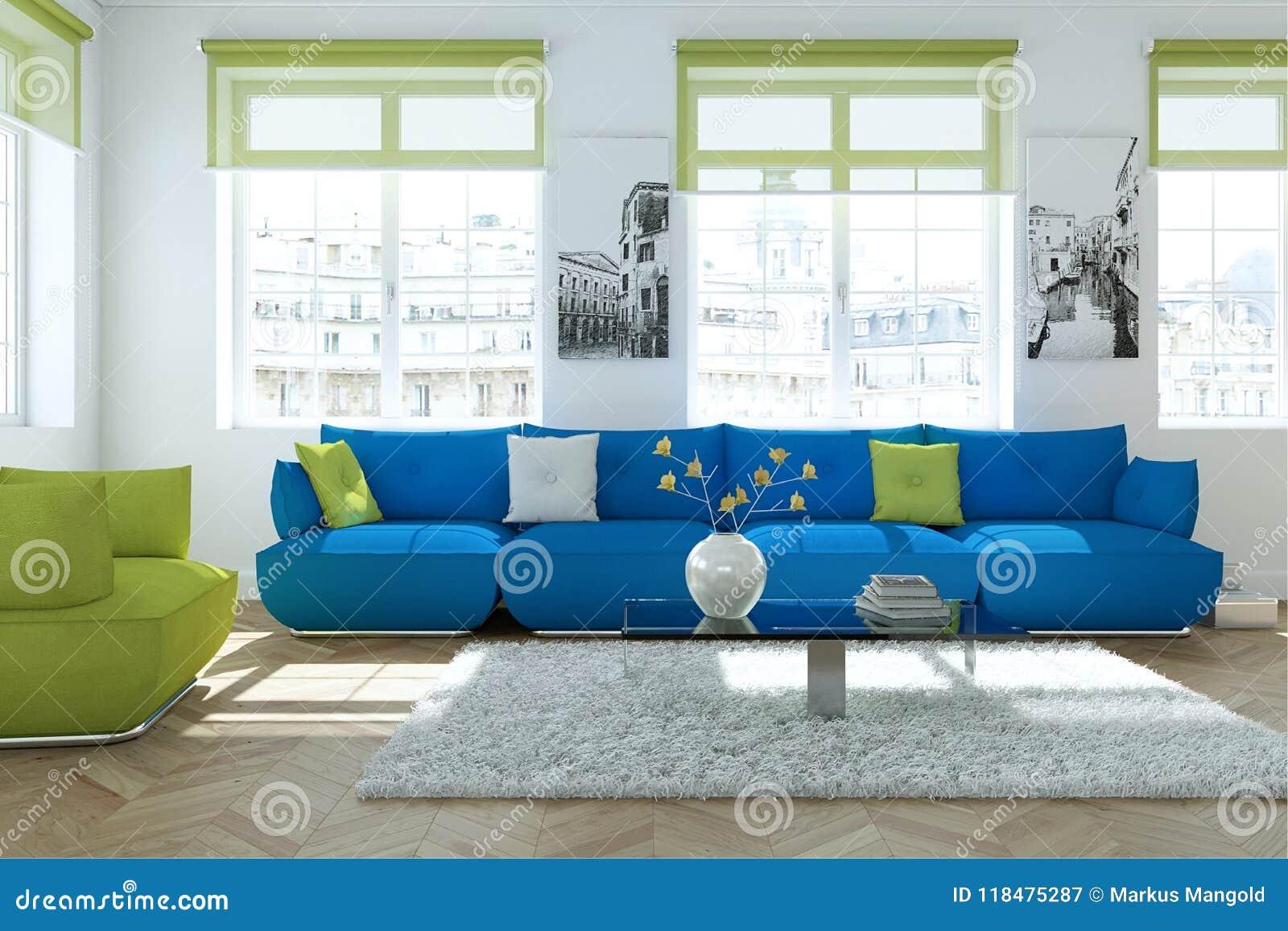 Modern Bright Skandinavian Interior Design Living Room With With Blue Sofas Stock Illustration Illustration Of Modern Loft 118475287